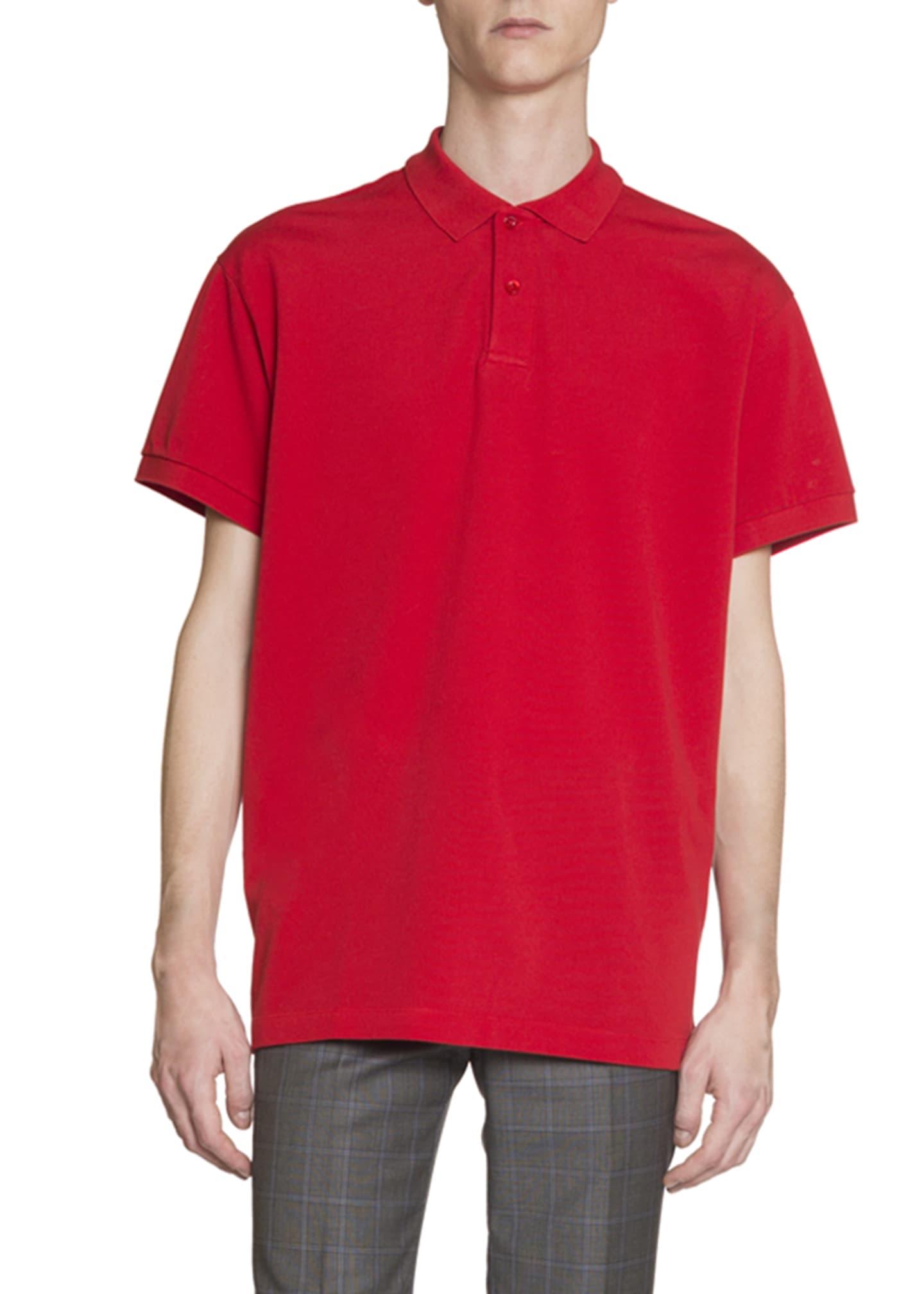 Balenciaga Men's Logo-Embroidered Pique; Polo Shirt