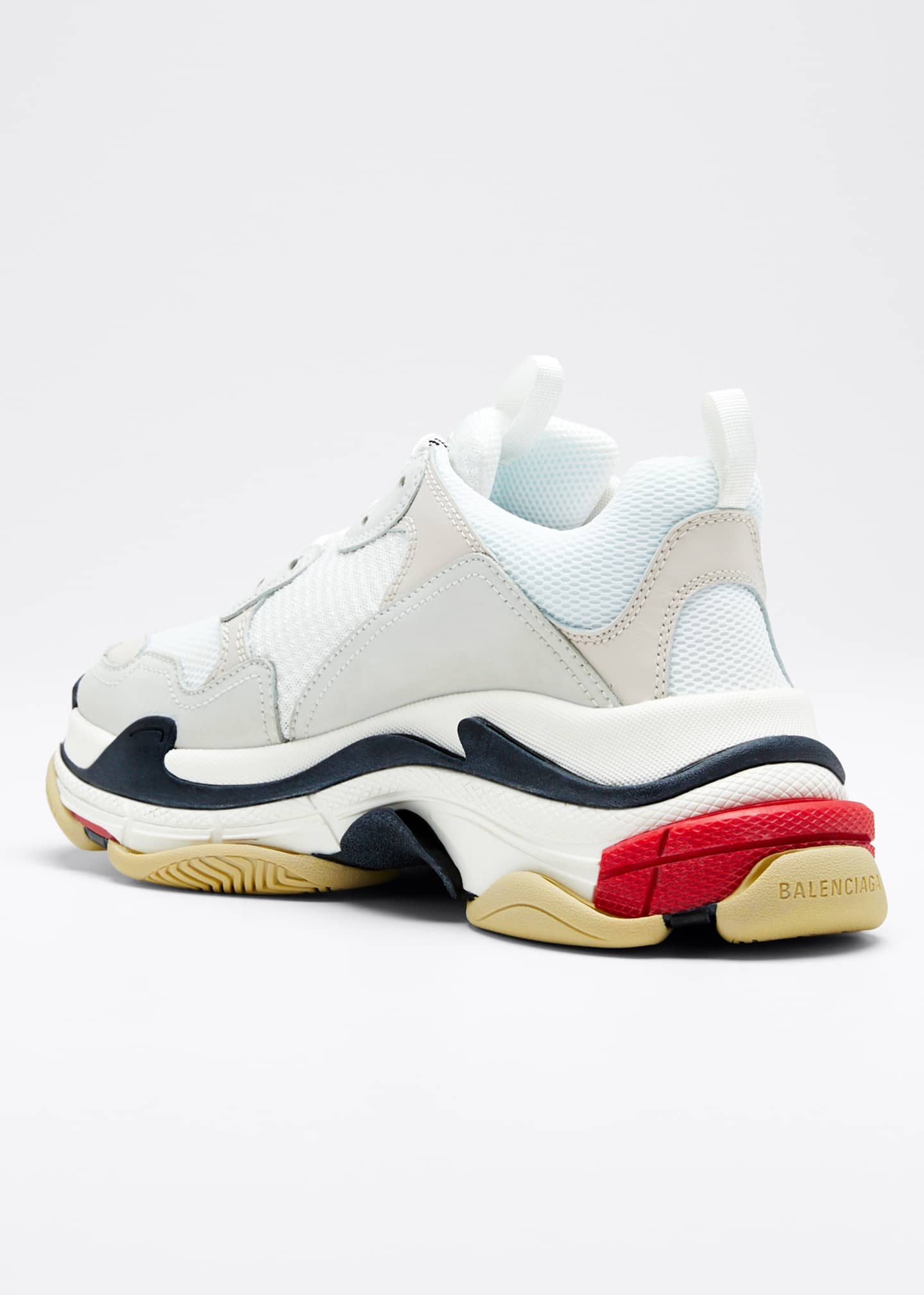 Image 2 of 3: Men's Triple S Mesh & Leather Sneakers