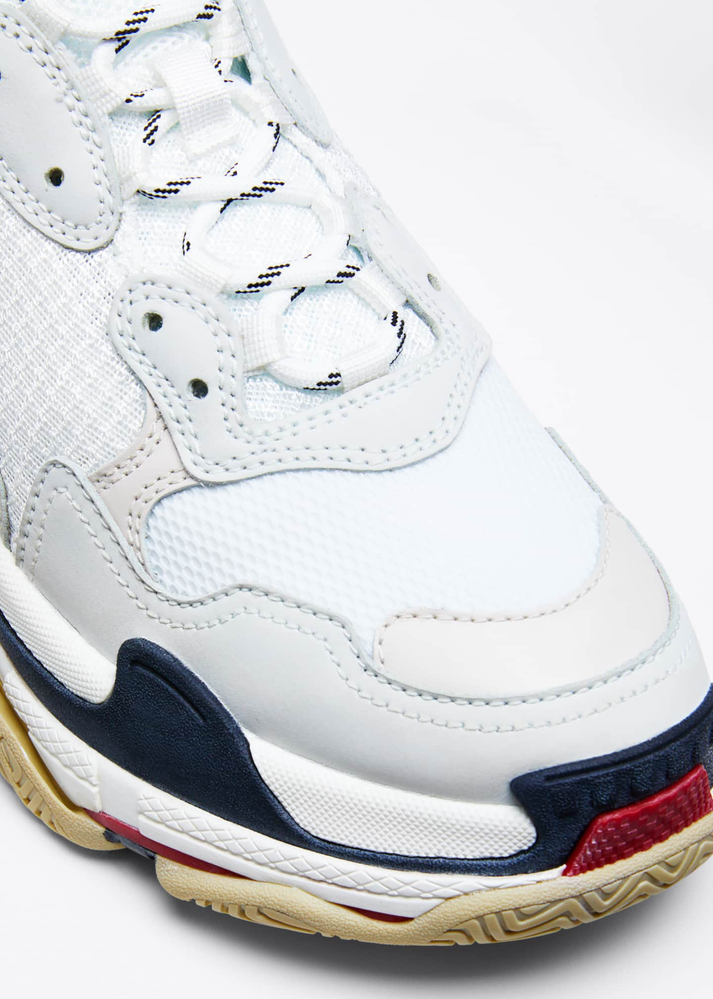 Image 3 of 3: Men's Triple S Mesh & Leather Sneakers