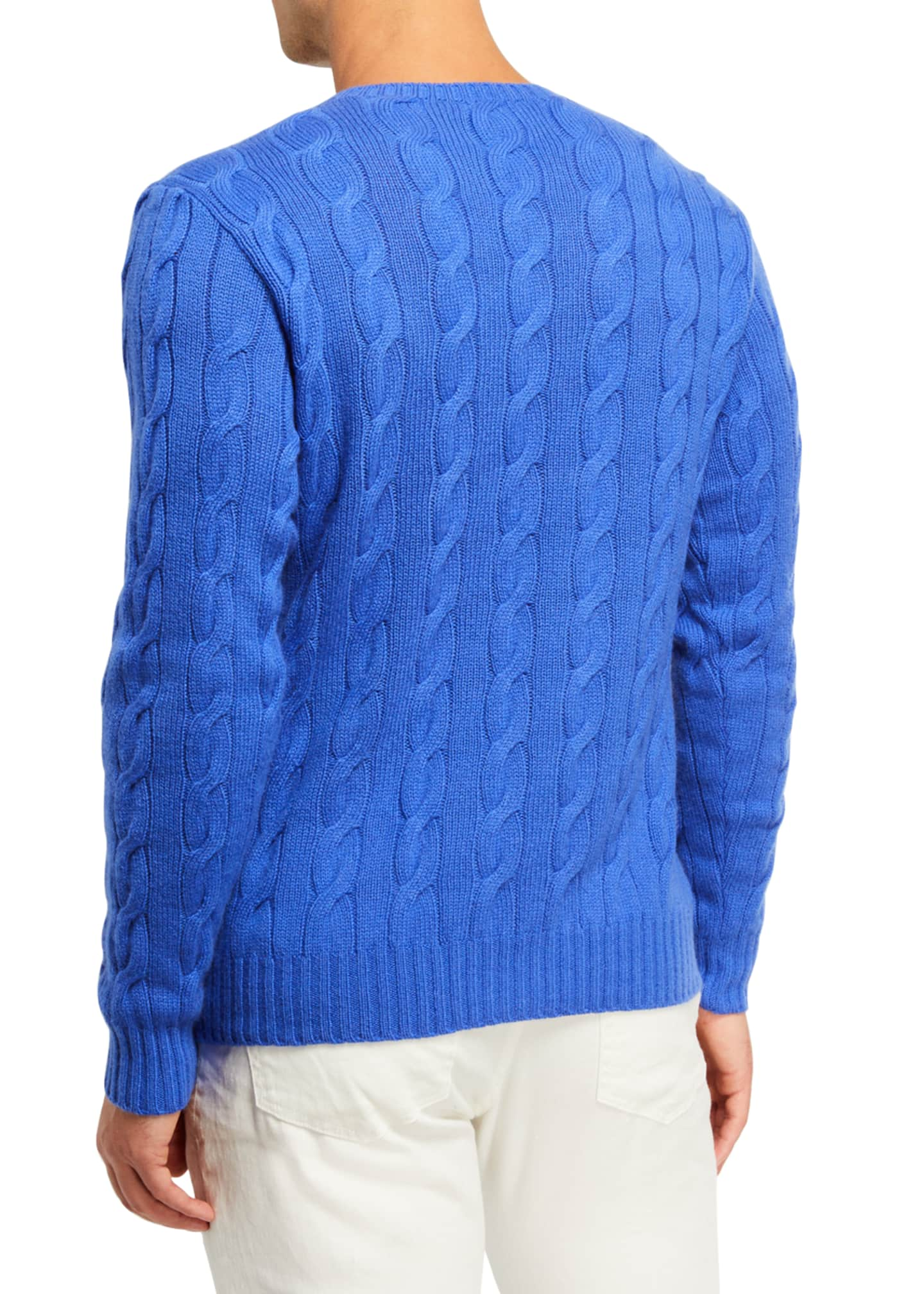 Image 2 of 2: Cashmere Cable-Knit Crewneck Sweater, Blue