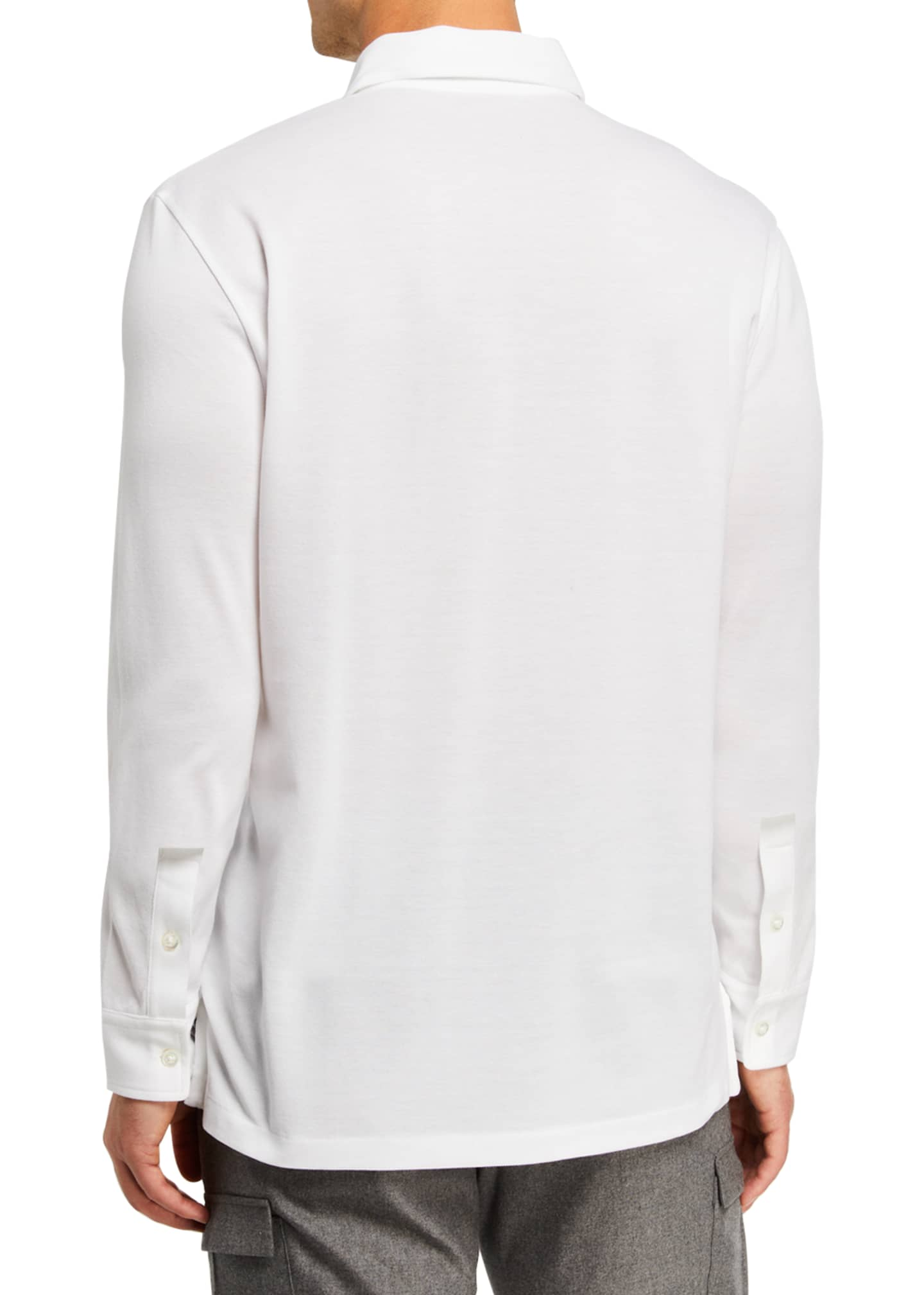 Image 2 of 2: Men's Washed Long-Sleeve Pocket Polo Shirt, White