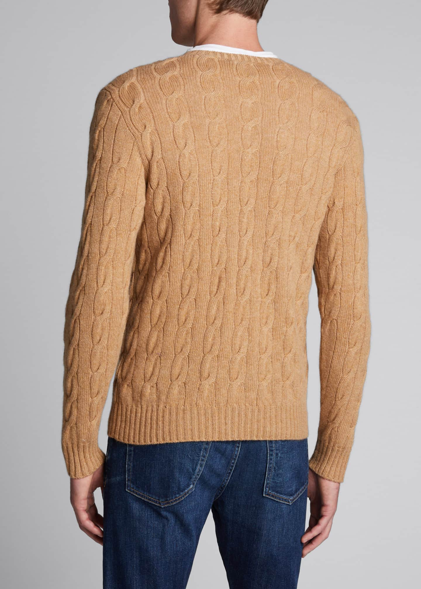 Image 2 of 4: Men's Cashmere Cable-Knit Crewneck Sweater, Beige