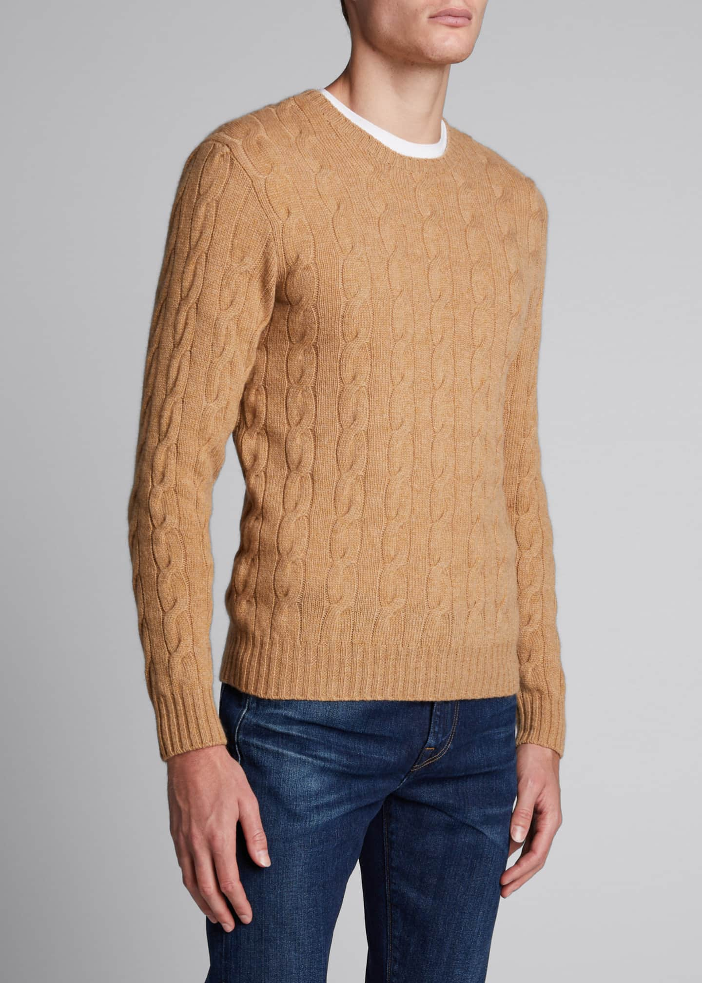 Image 3 of 4: Men's Cashmere Cable-Knit Crewneck Sweater, Beige