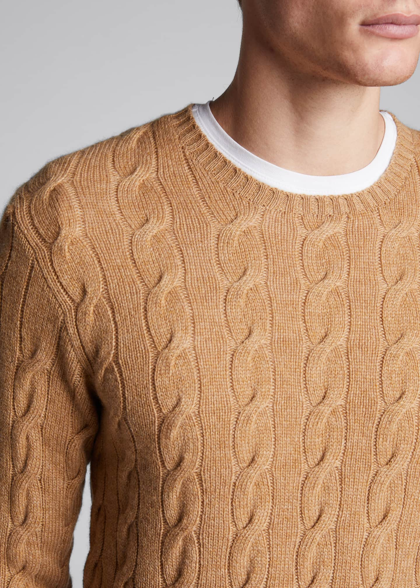 Image 4 of 4: Men's Cashmere Cable-Knit Crewneck Sweater, Beige