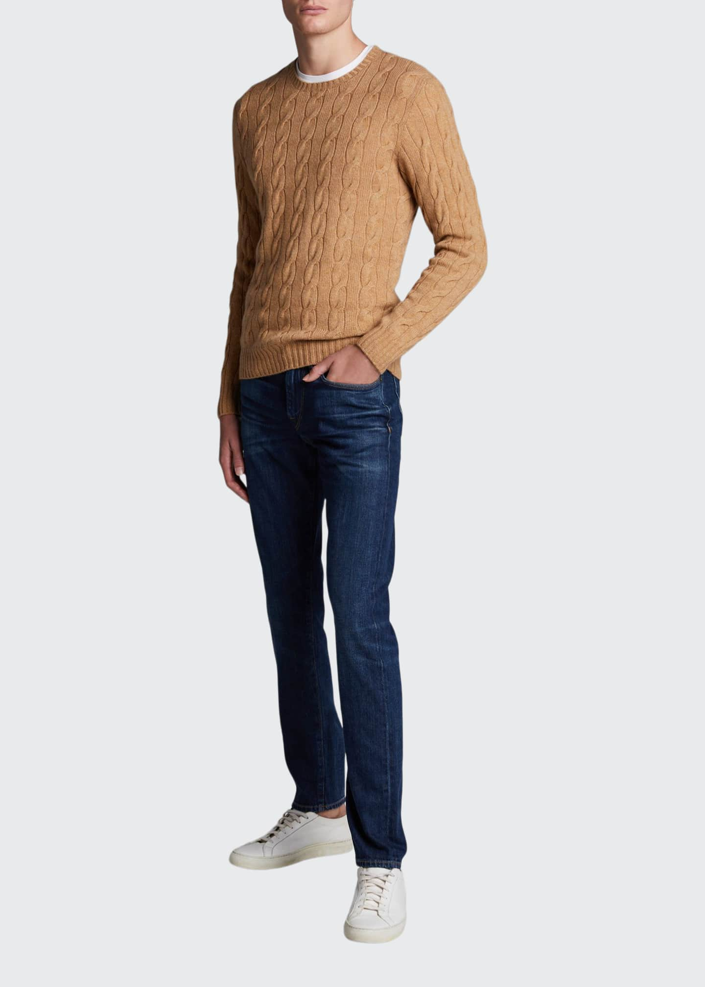 Image 1 of 4: Men's Cashmere Cable-Knit Crewneck Sweater, Beige