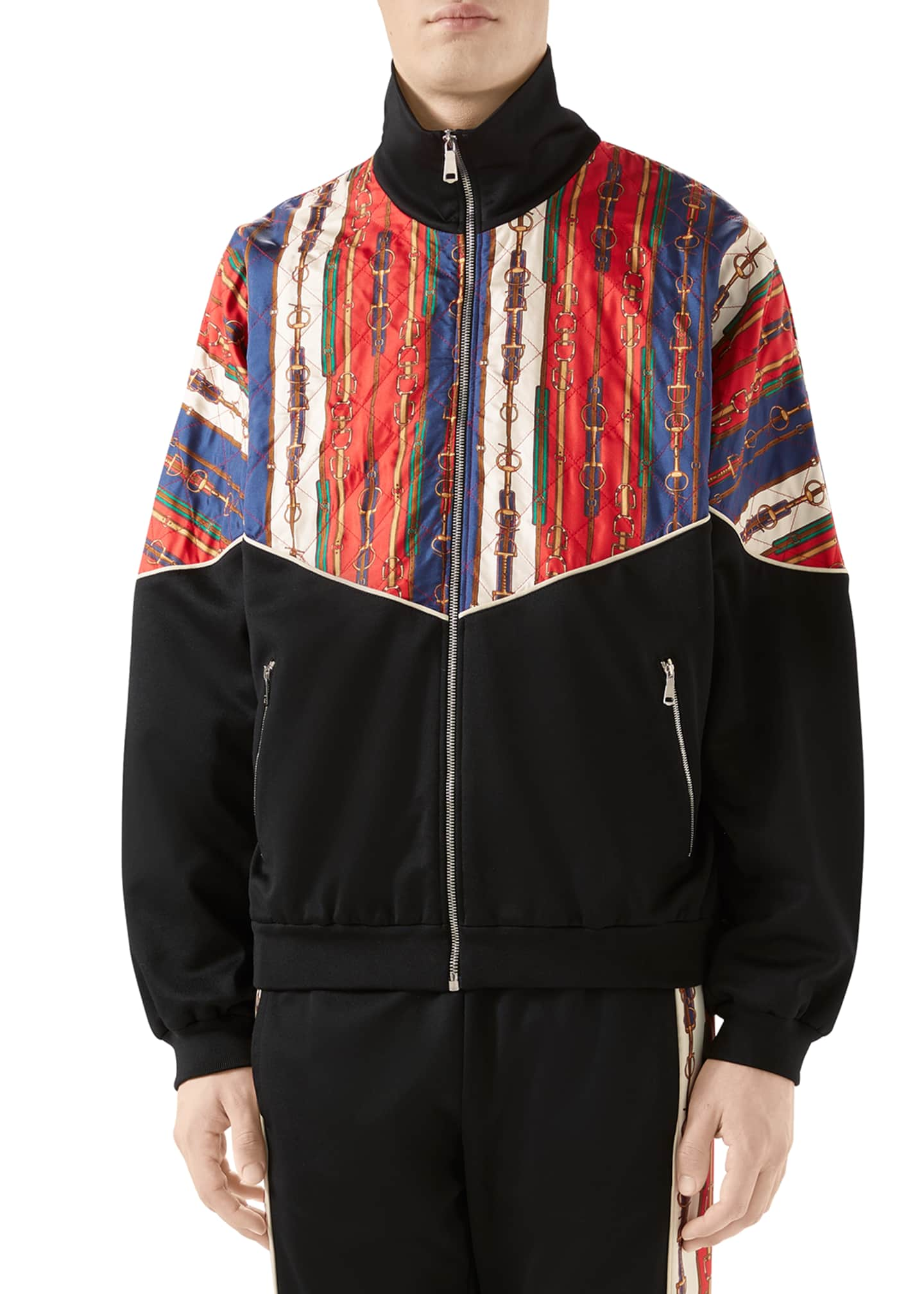 Gucci Men's Chain-Print Technical Jersey Track Jacket