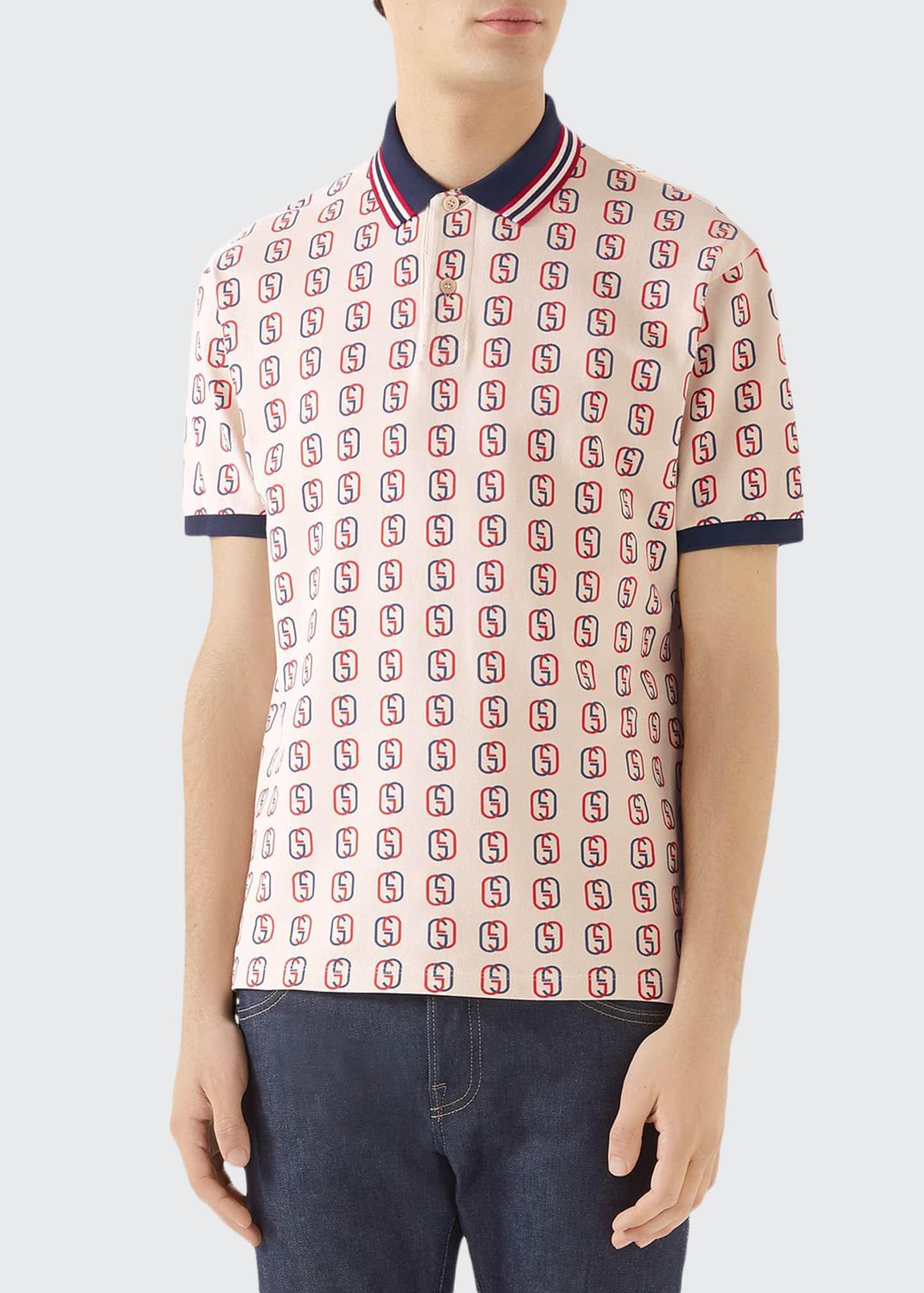 Gucci Men's GG Logo Cotton Pique Polo Shirt