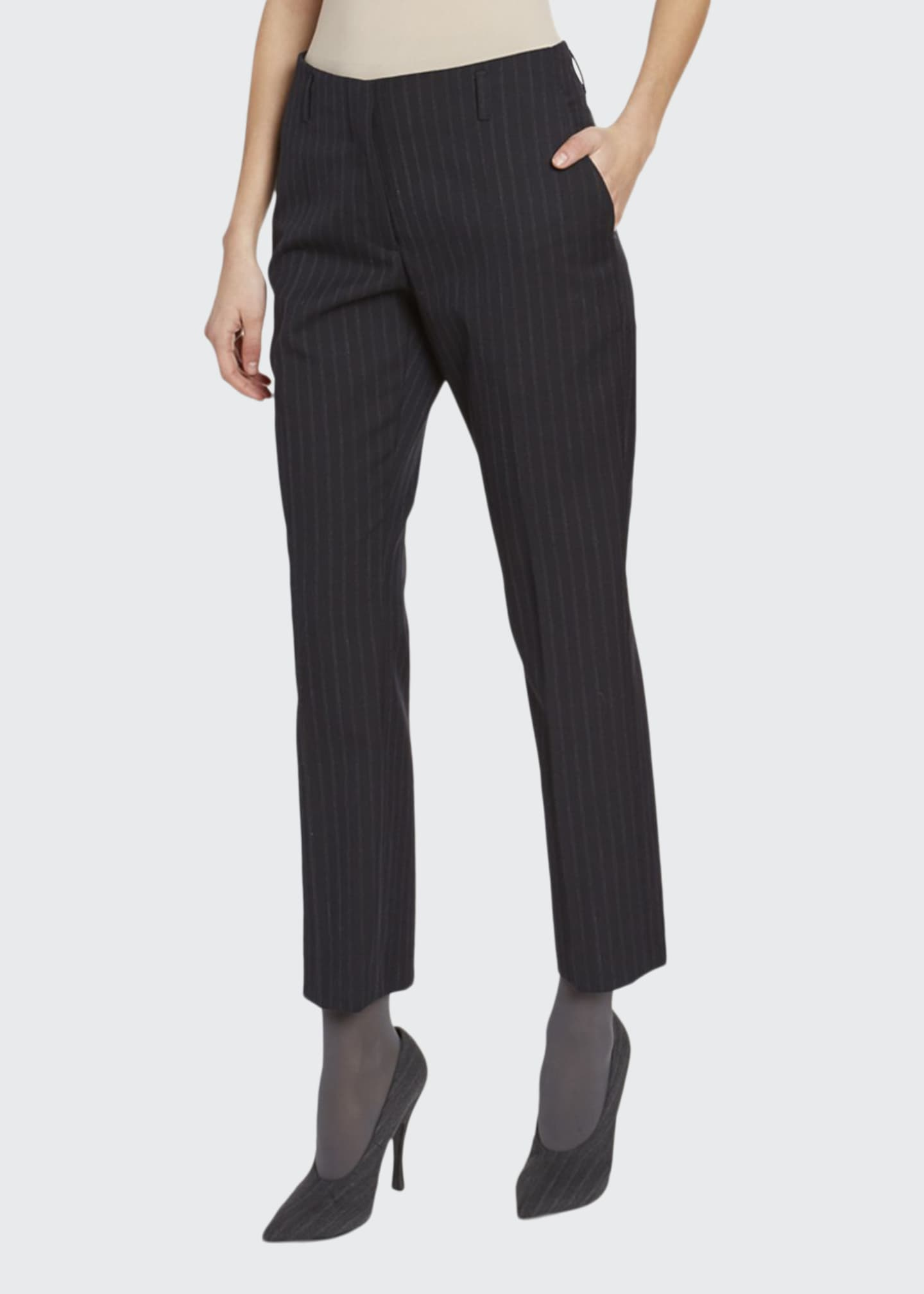 Dries Van Noten Pinstriped Cropped Straight-Leg Pants