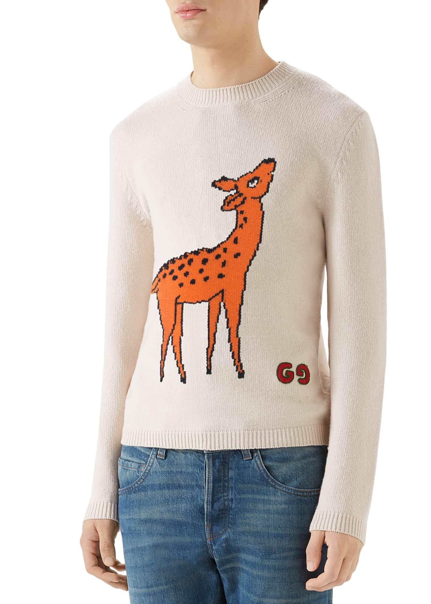 Gucci Men's Deer Graphic Crewneck Sweater
