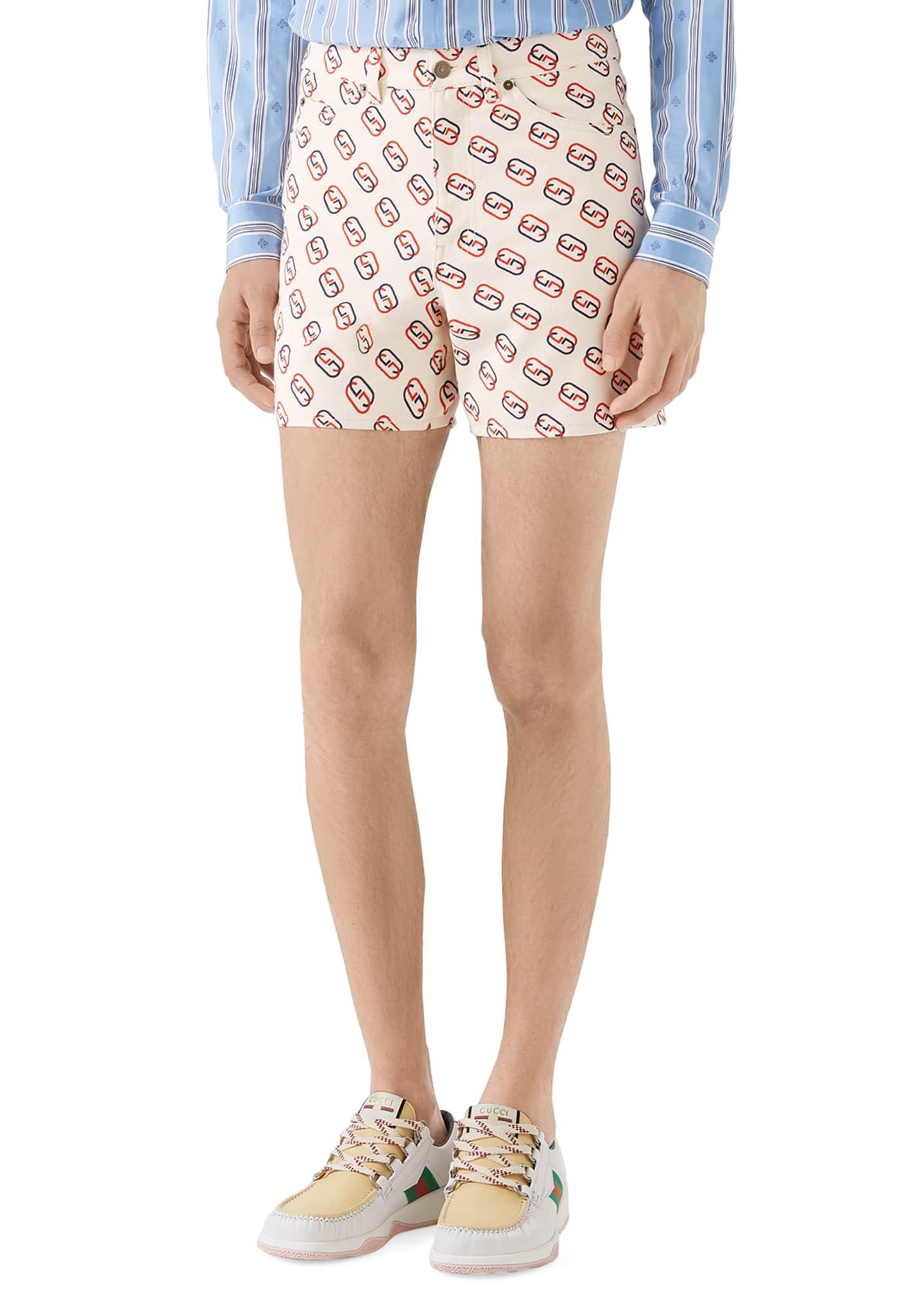 Gucci Men's GG Logo-Print Denim Shorts