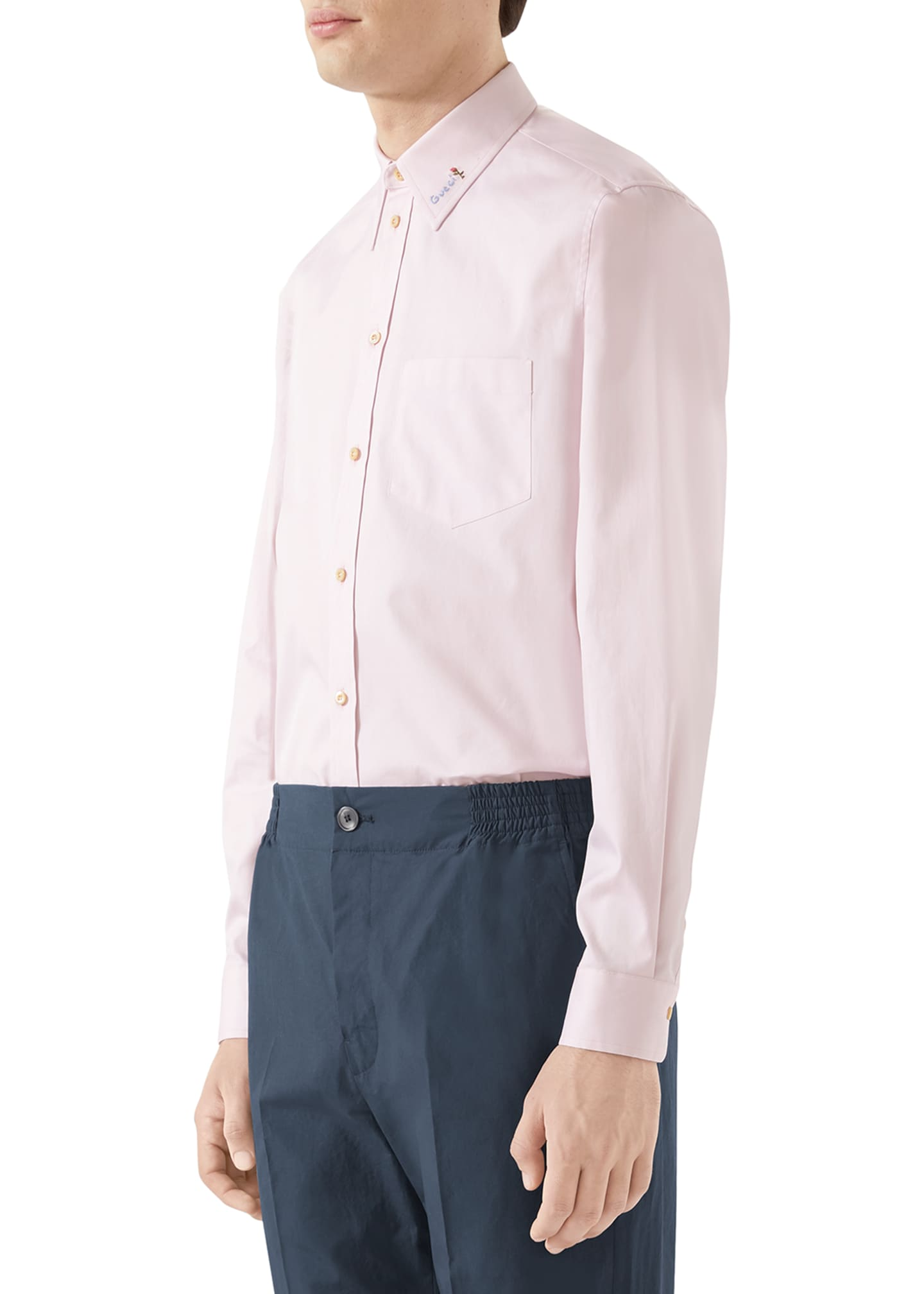 Image 2 of 4: Men's Embroidered-Collar Cotton Sport Shirt