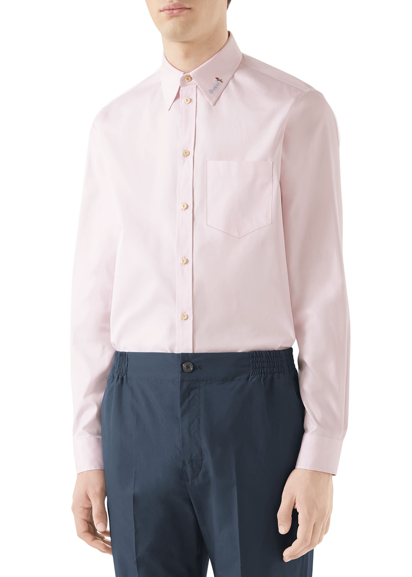 Image 1 of 4: Men's Embroidered-Collar Cotton Sport Shirt
