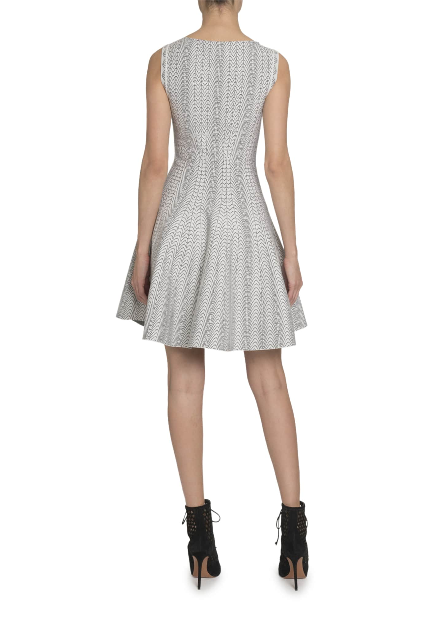 Image 2 of 3: Dot-Print Boat-Neck Sleeveless Fit-&-Flare Dress