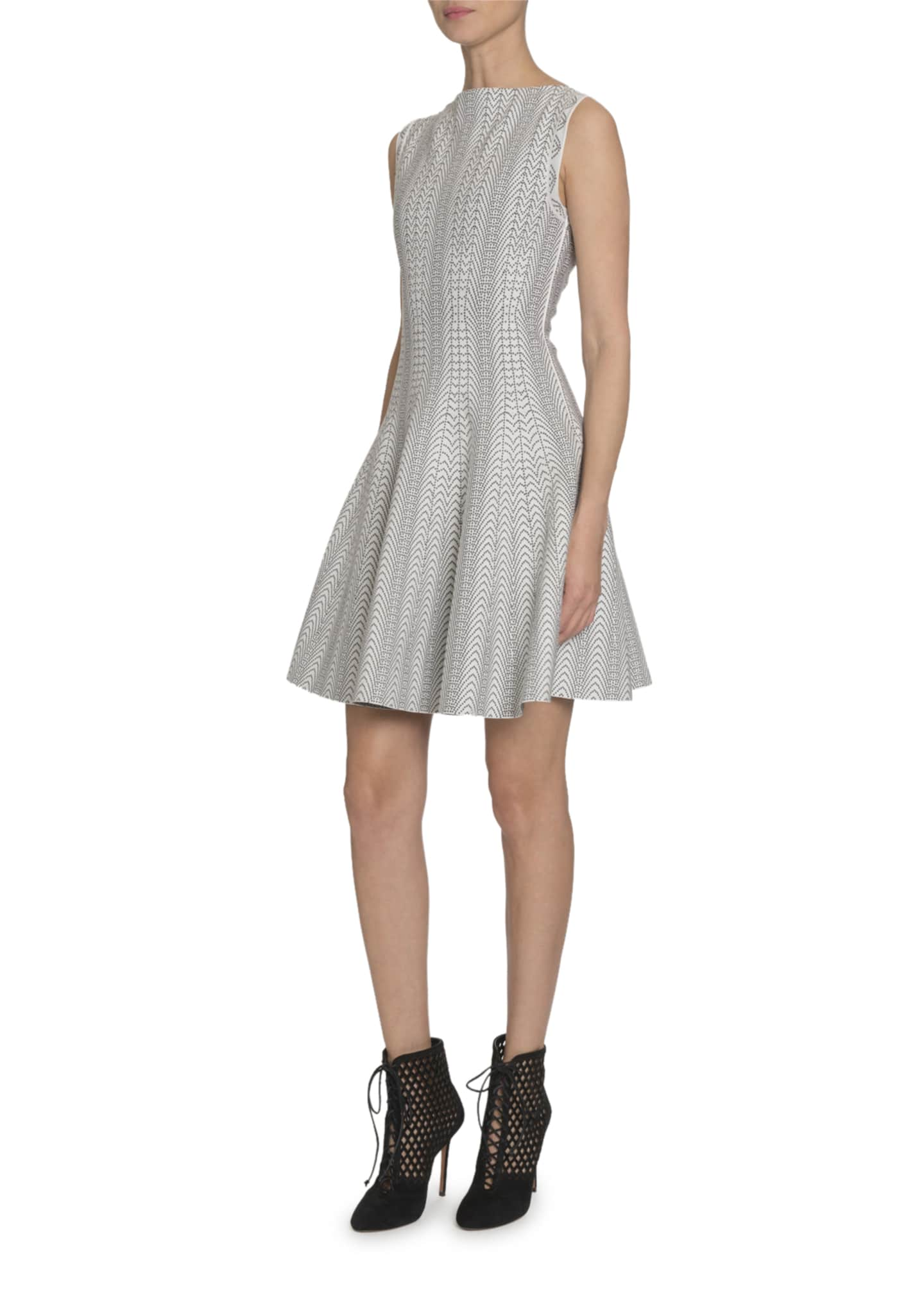 Image 3 of 3: Dot-Print Boat-Neck Sleeveless Fit-&-Flare Dress