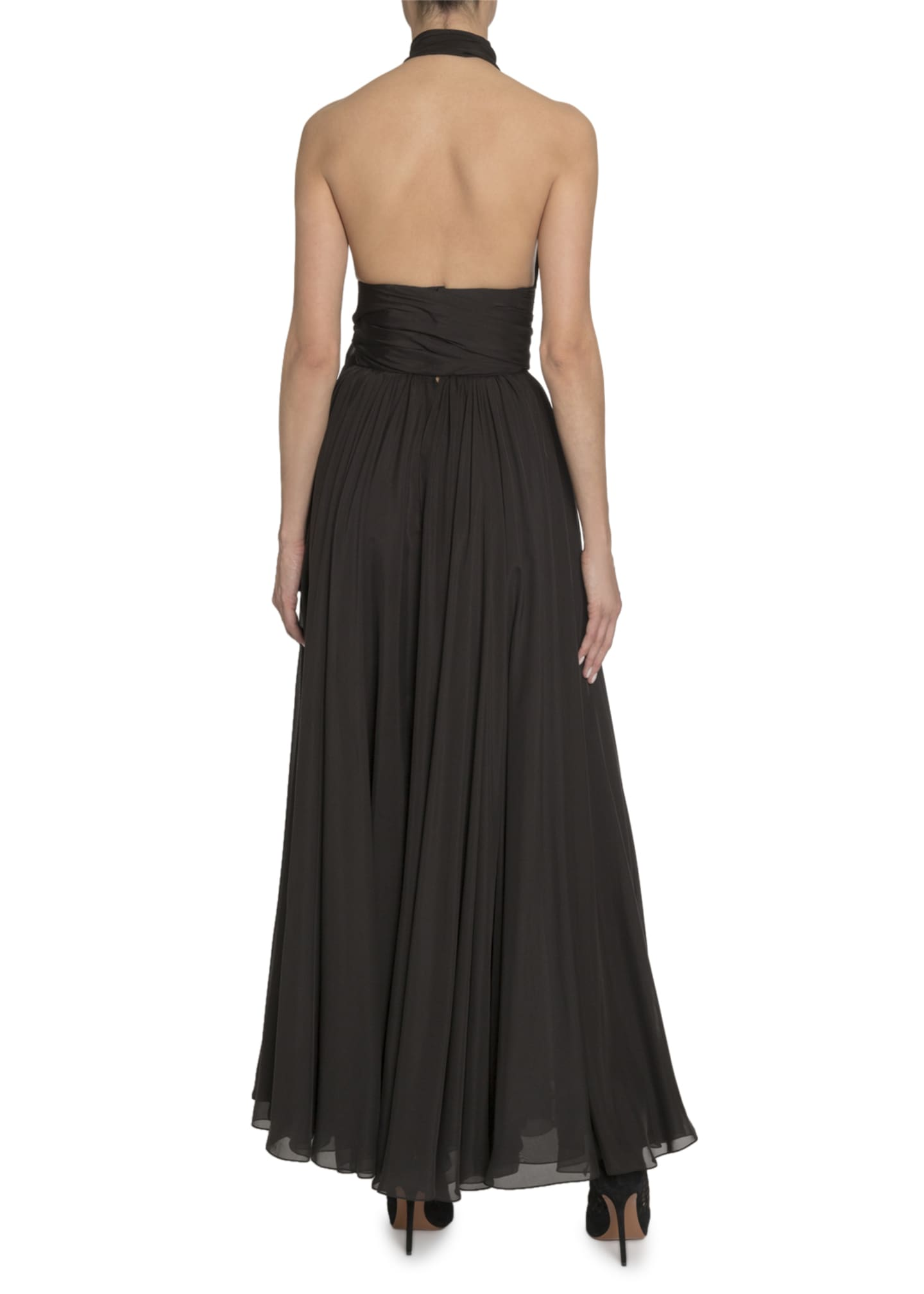 Image 2 of 3: Silk Taffeta Wrapped Halter Gown