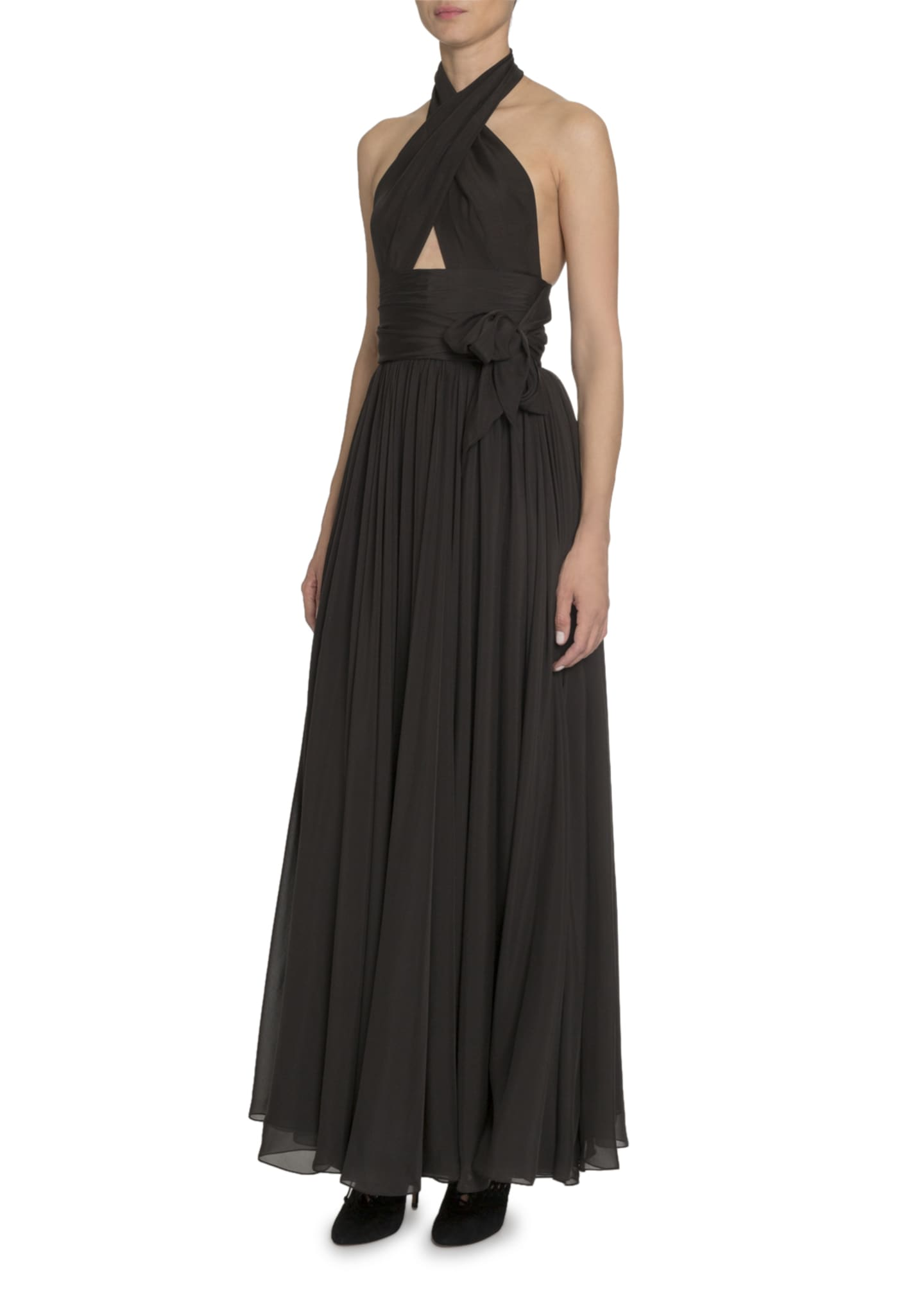 Image 3 of 3: Silk Taffeta Wrapped Halter Gown