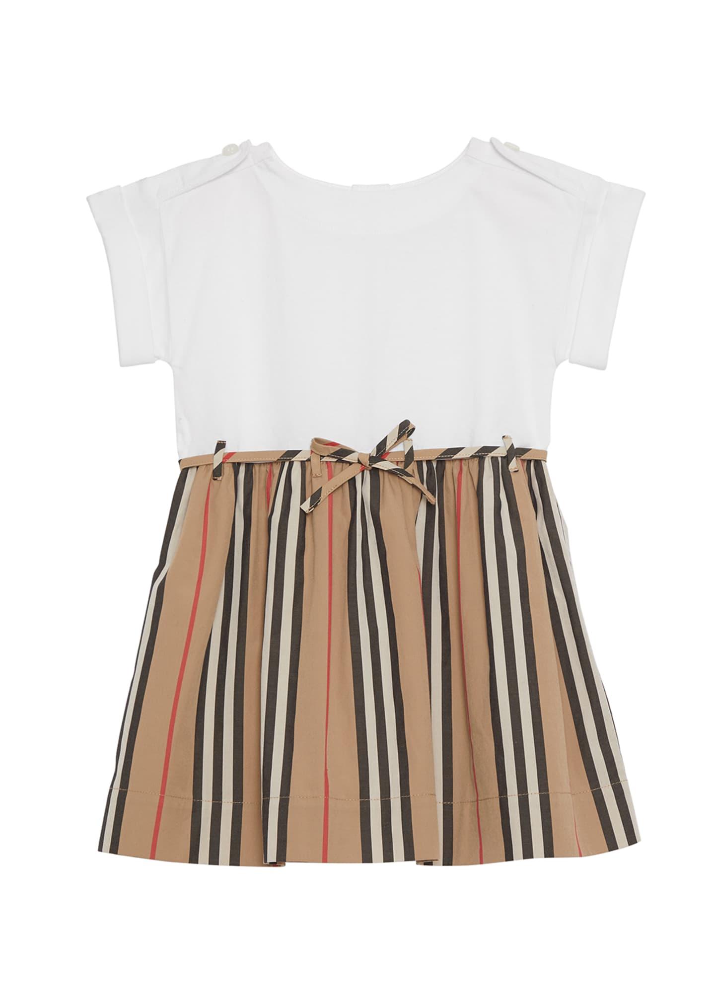 Burberry Rhonda Jersey & Icon Stripe Poplin Dress,