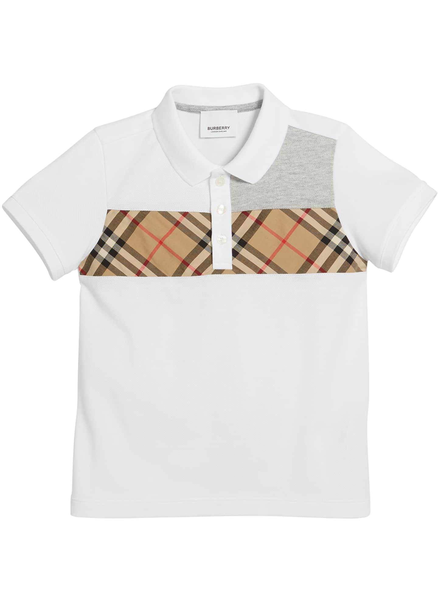 Image 1 of 1: Jeff Contrasting Polo w/ Check Chest, Size 3-14