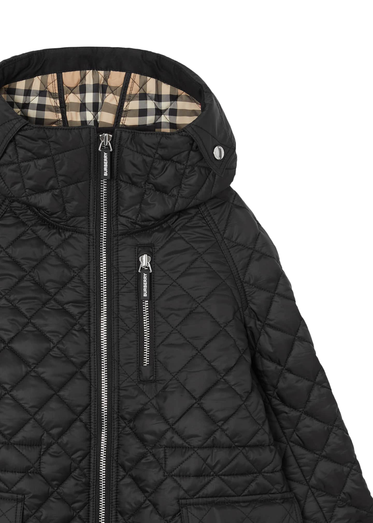 Image 4 of 4: Trey Long Quilted Coat, Size 3-14