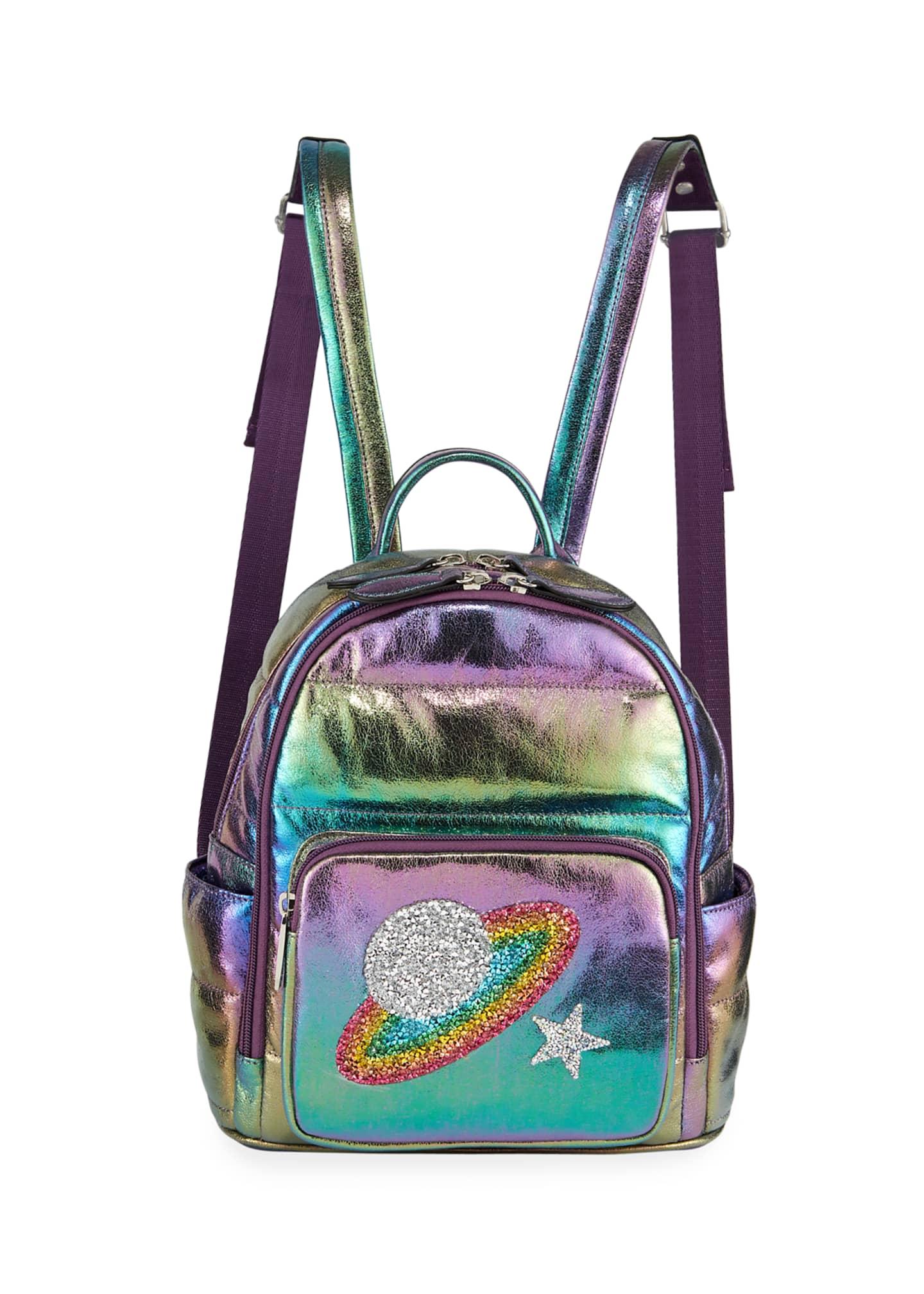 Bari Lynn Girls' Galaxy Iridescent Puffy Mini Backpack