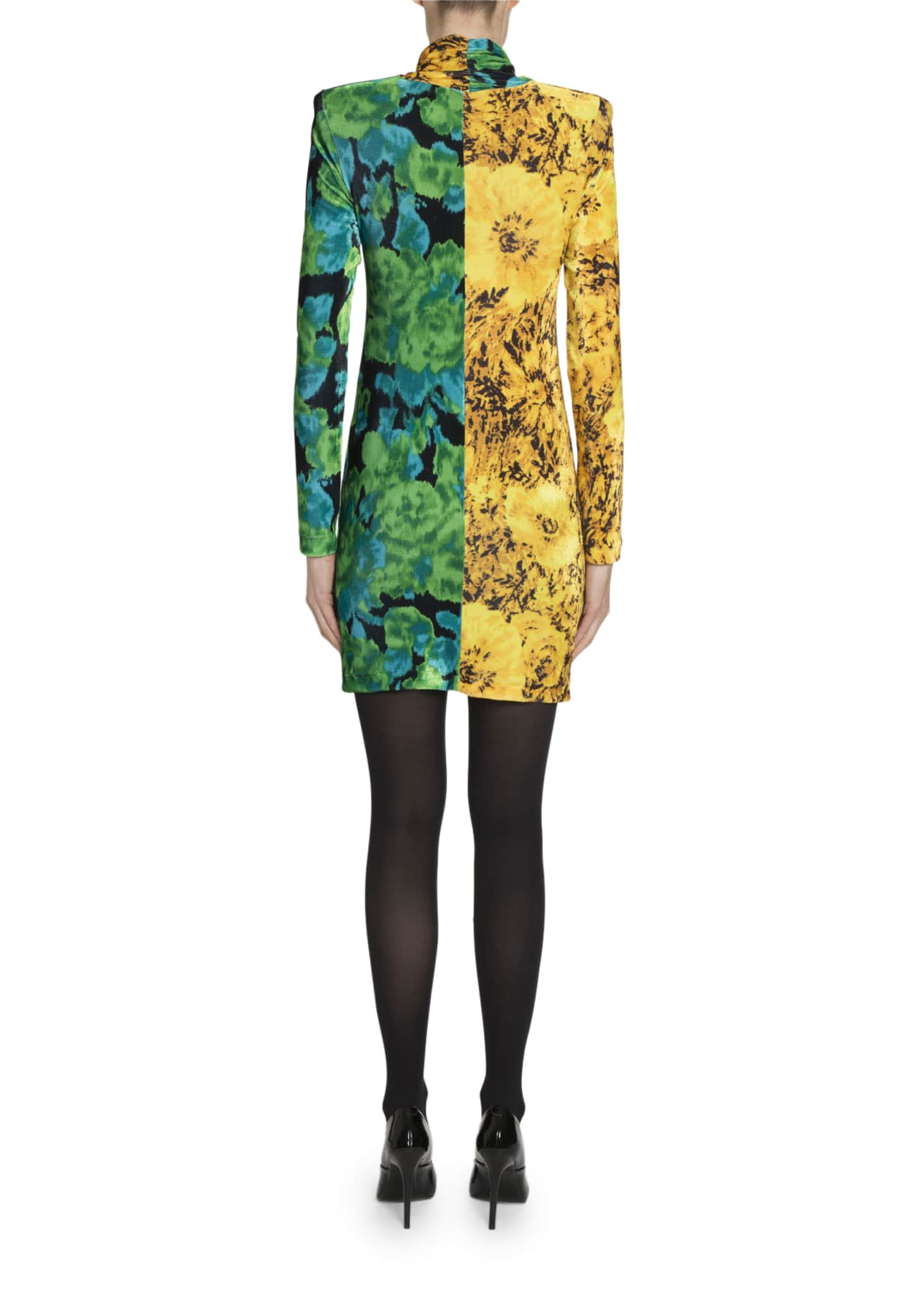 Image 2 of 2: High-Neck Two-Tone Printed Mini Dress