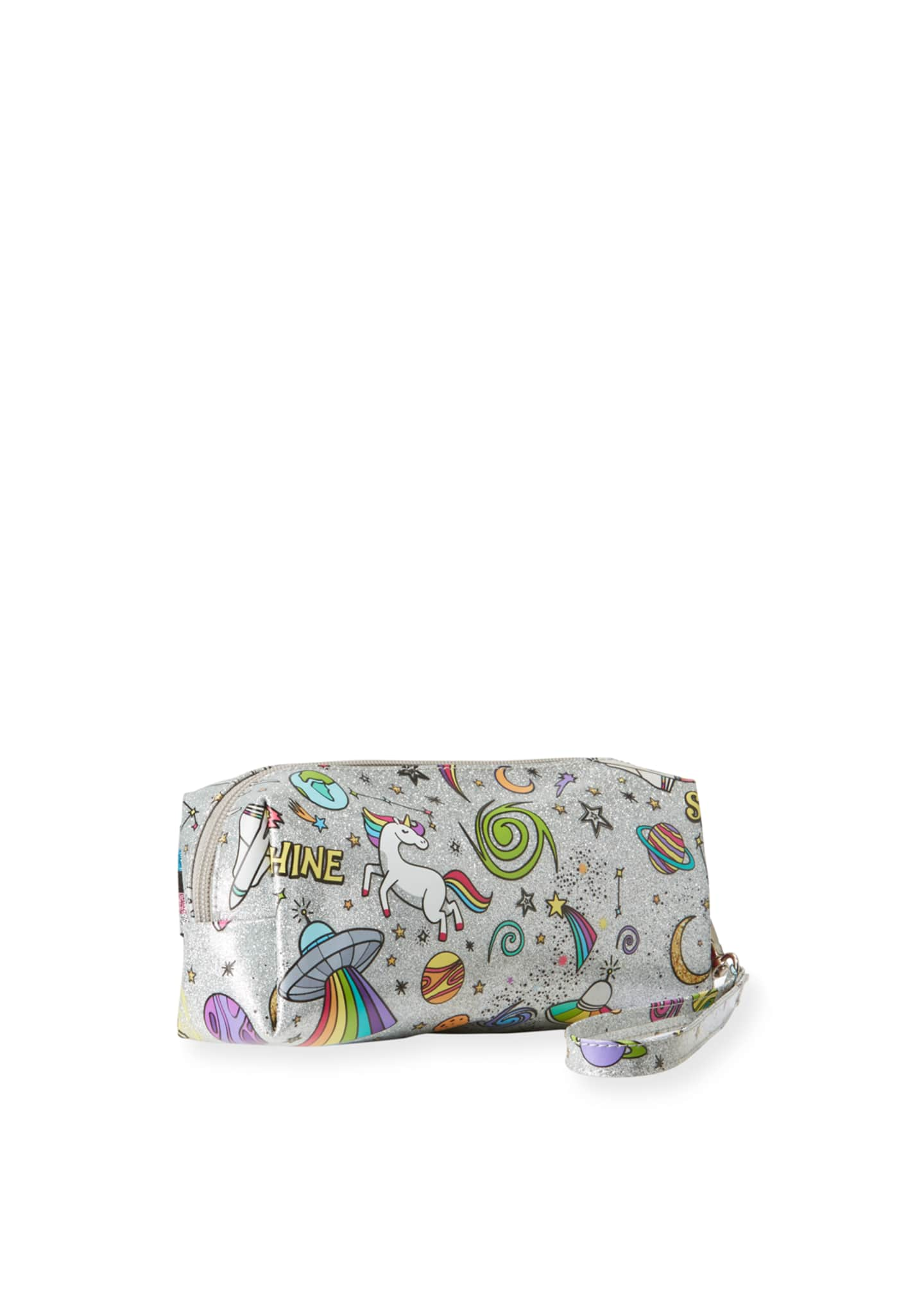Image 2 of 2: Kid's Galaxy Emoji Metallic Pencil Case