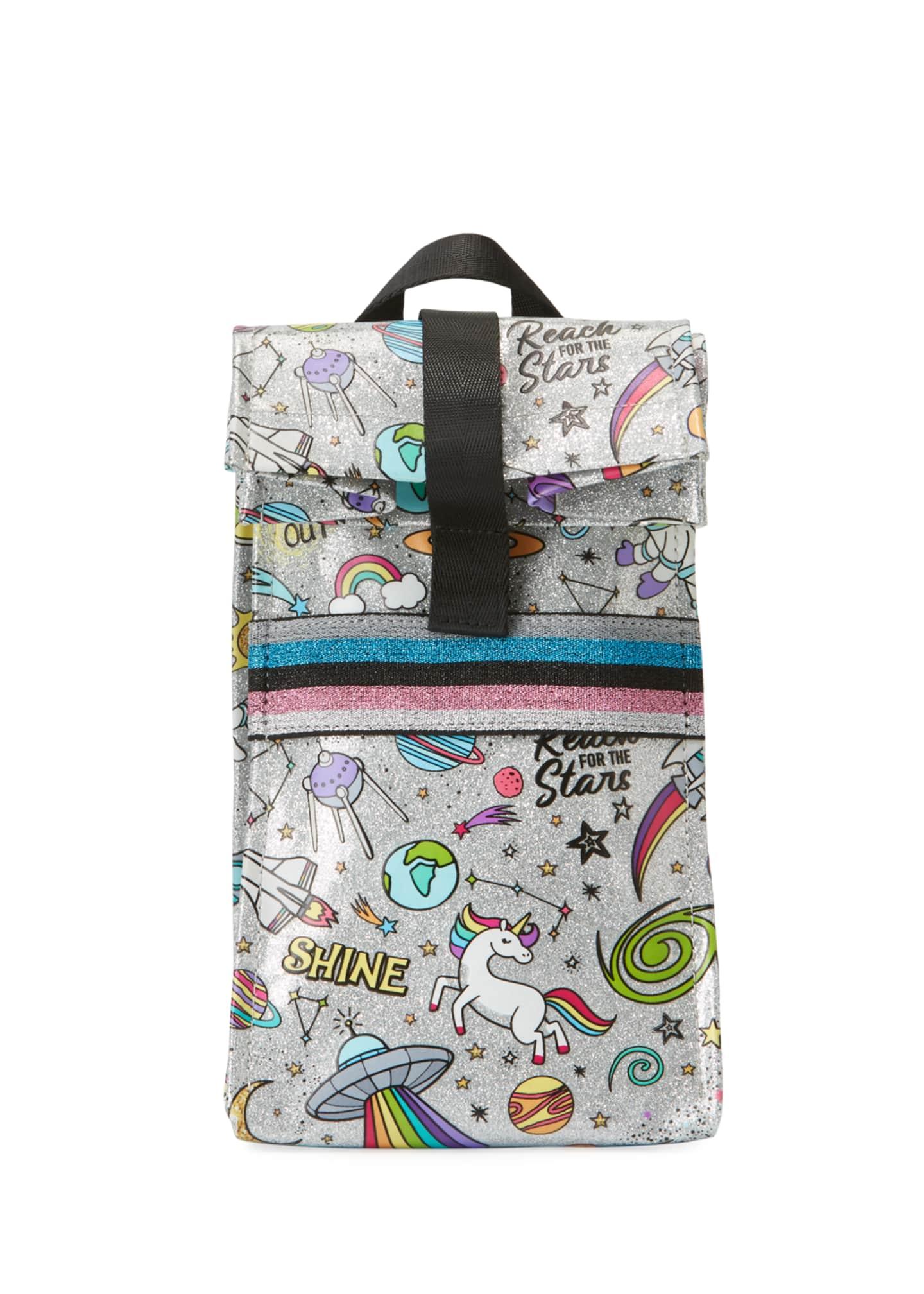 Bari Lynn Kid's Galaxy Icon Glitter Lunch Bag
