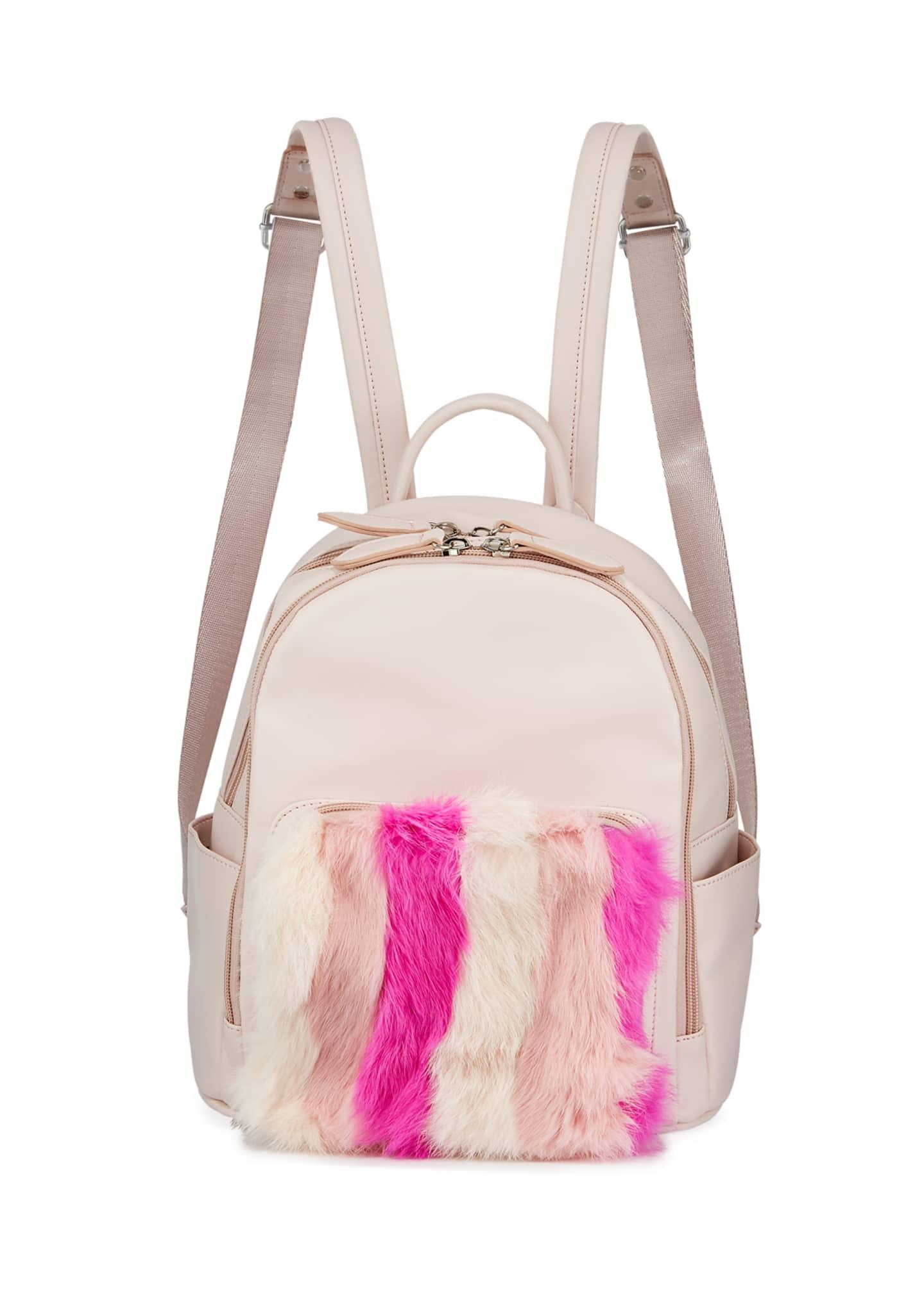 Bari Lynn Kid's Faux Leather Fur Trim Backpack