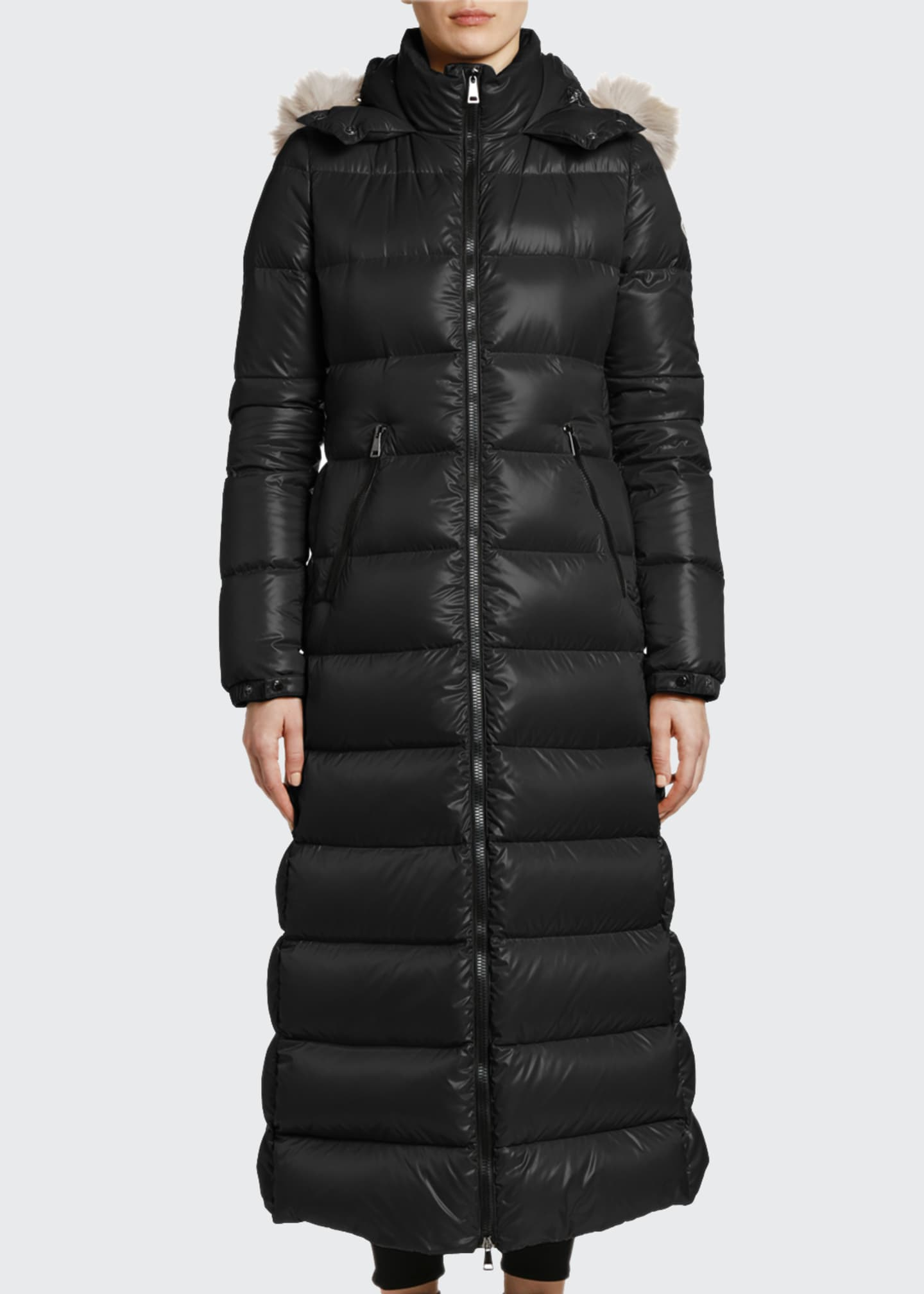 Image 3 of 4: Hudson Long Puffer Coat w/ Fur Hood