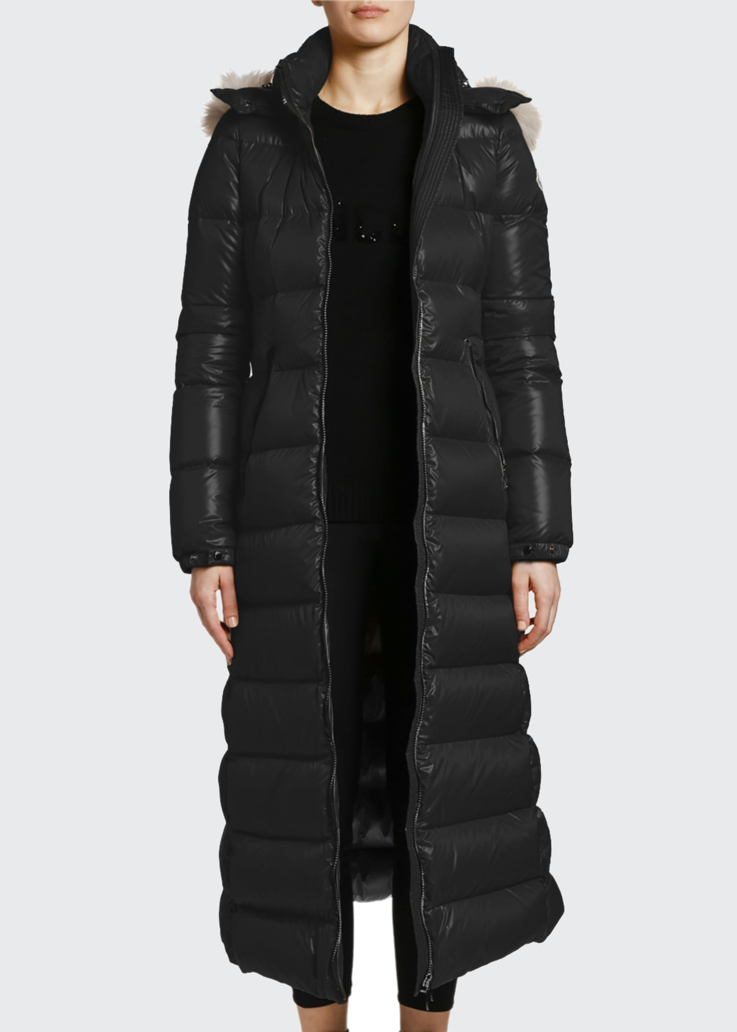Image 4 of 4: Hudson Long Puffer Coat w/ Fur Hood