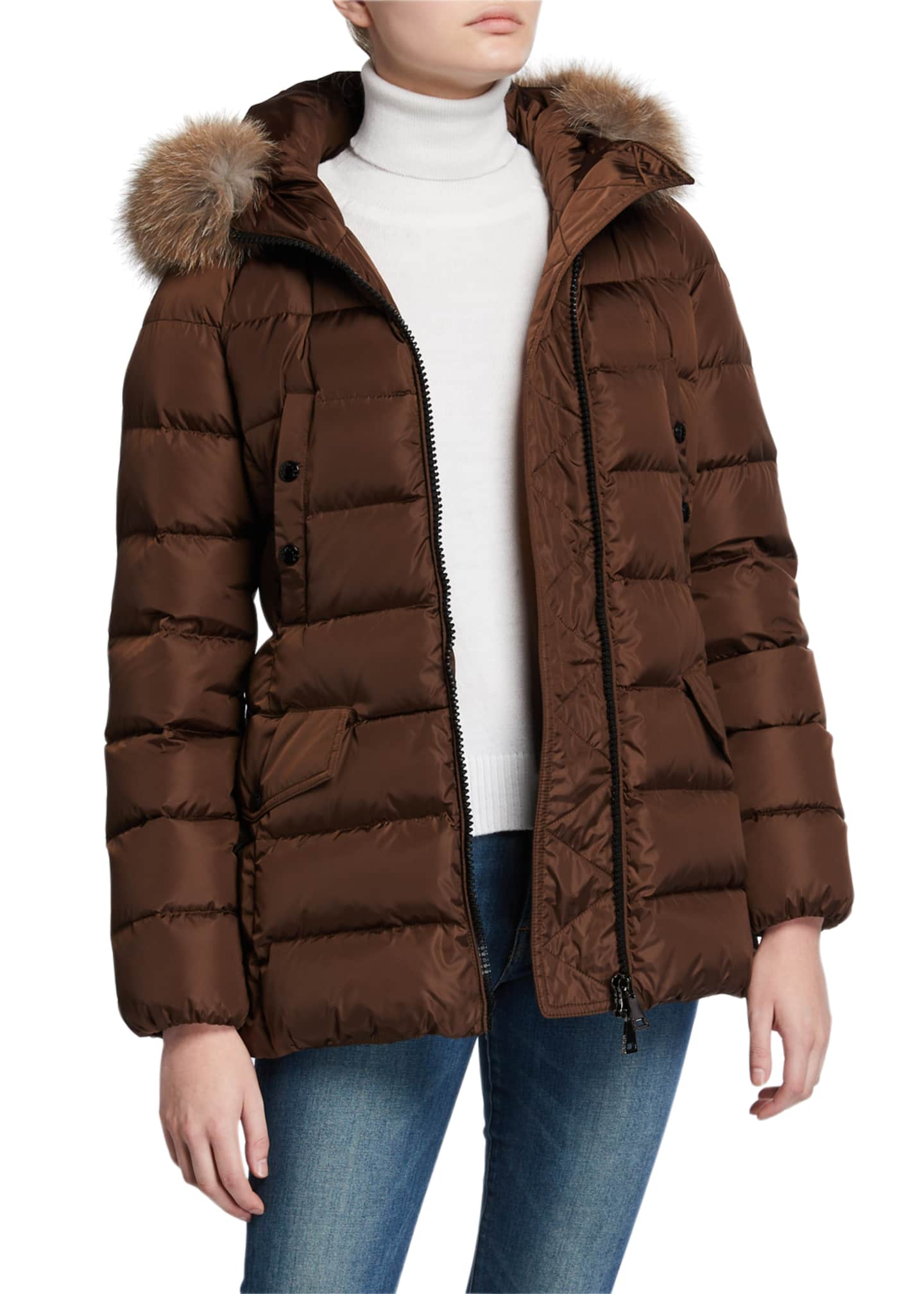 Image 2 of 3: Clion Belted Puffer Jacket w/ Fur Hood