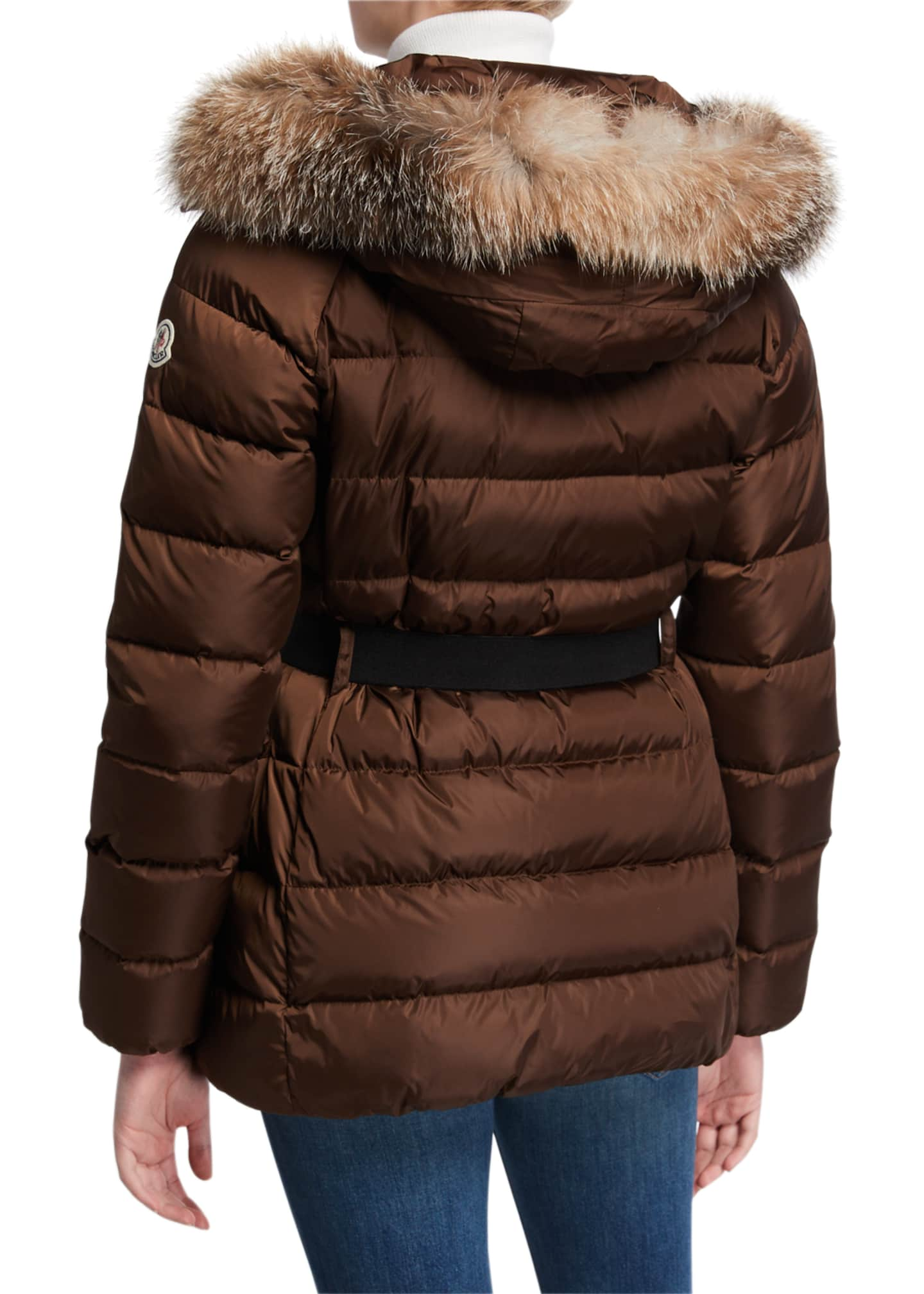 Image 3 of 3: Clion Belted Puffer Jacket w/ Fur Hood