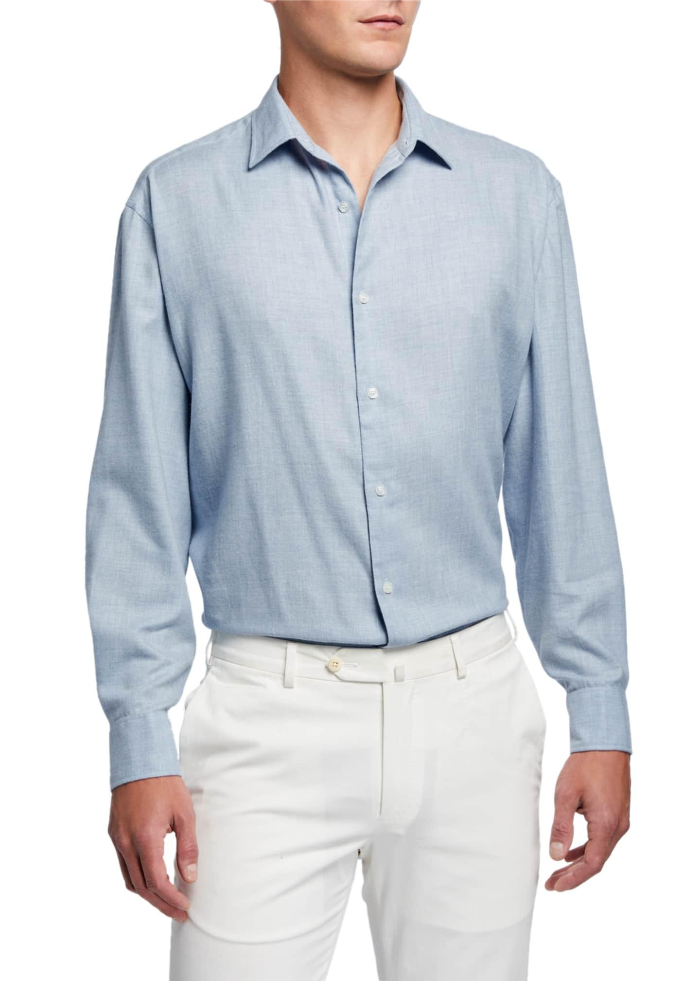 Charvet Men's Solid Brushed-Cotton Sport Shirt