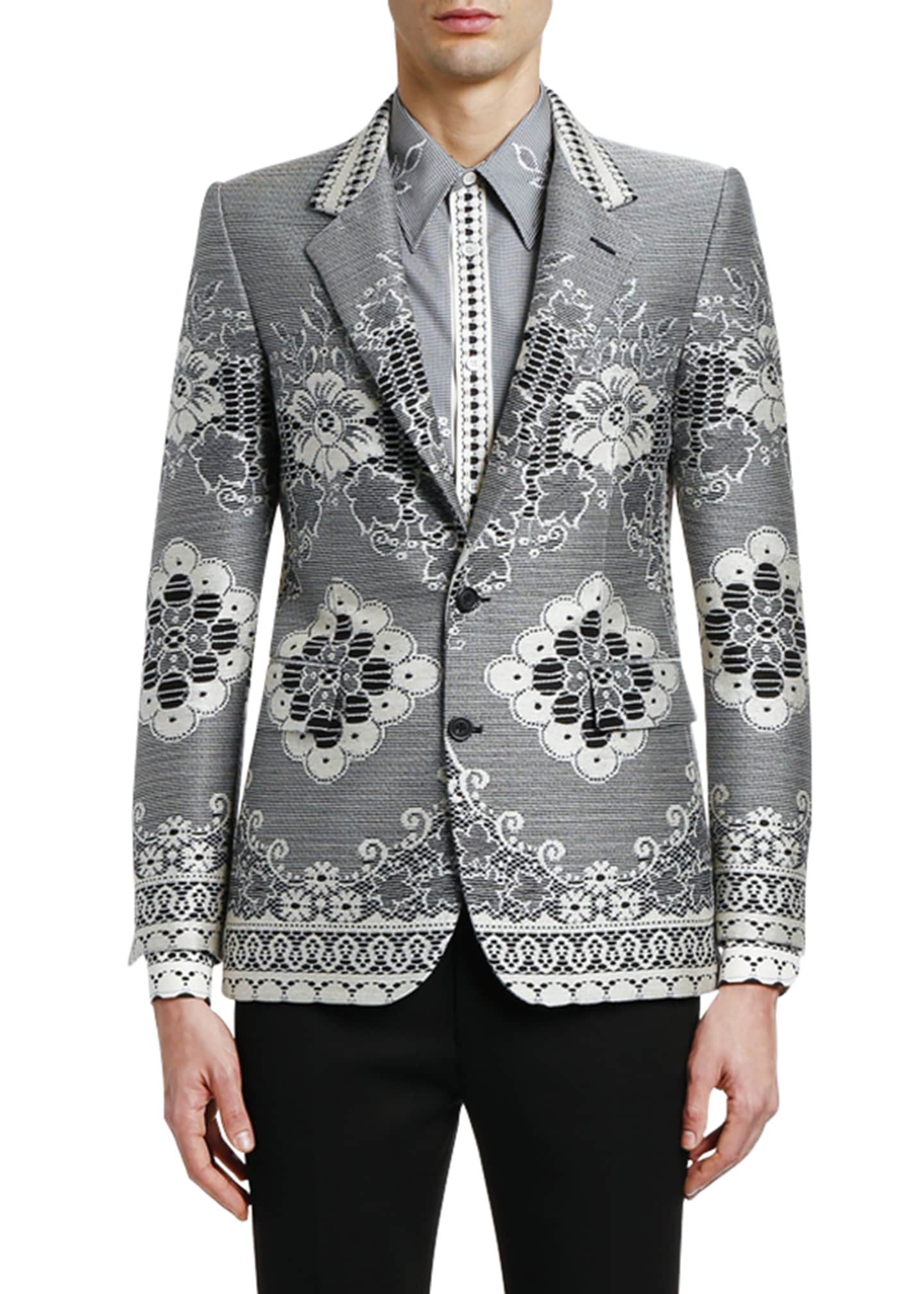 Alexander McQueen Men's Lace Jacquard Two-Button Jacket
