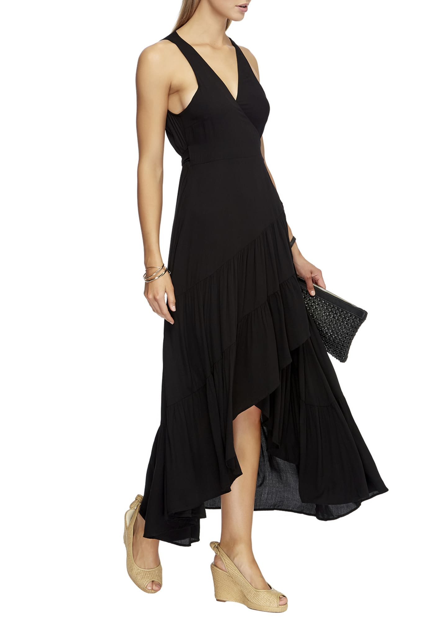 Image 2 of 3: Tiered High-Low Coverup Wrap Dress