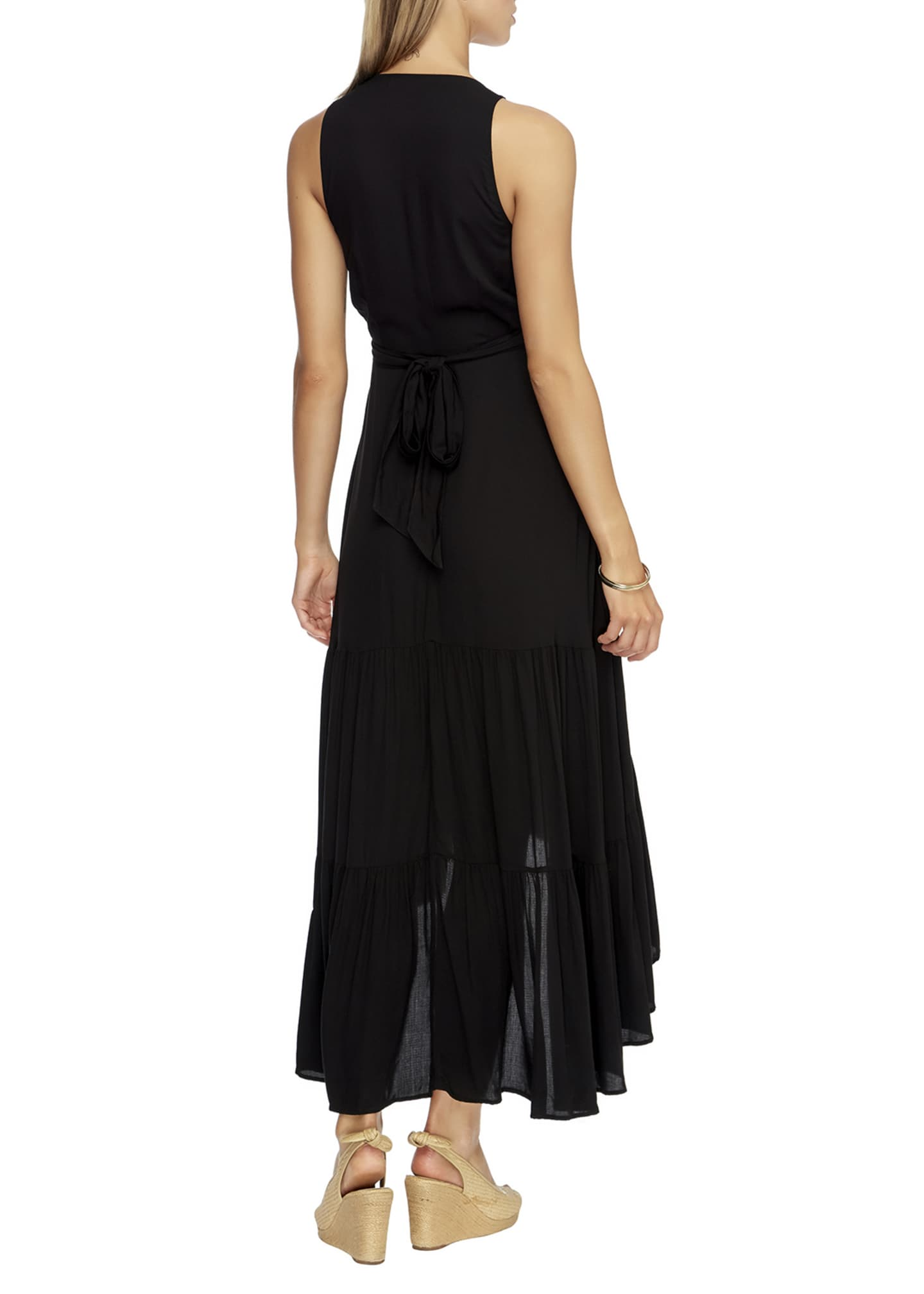 Image 3 of 3: Tiered High-Low Coverup Wrap Dress