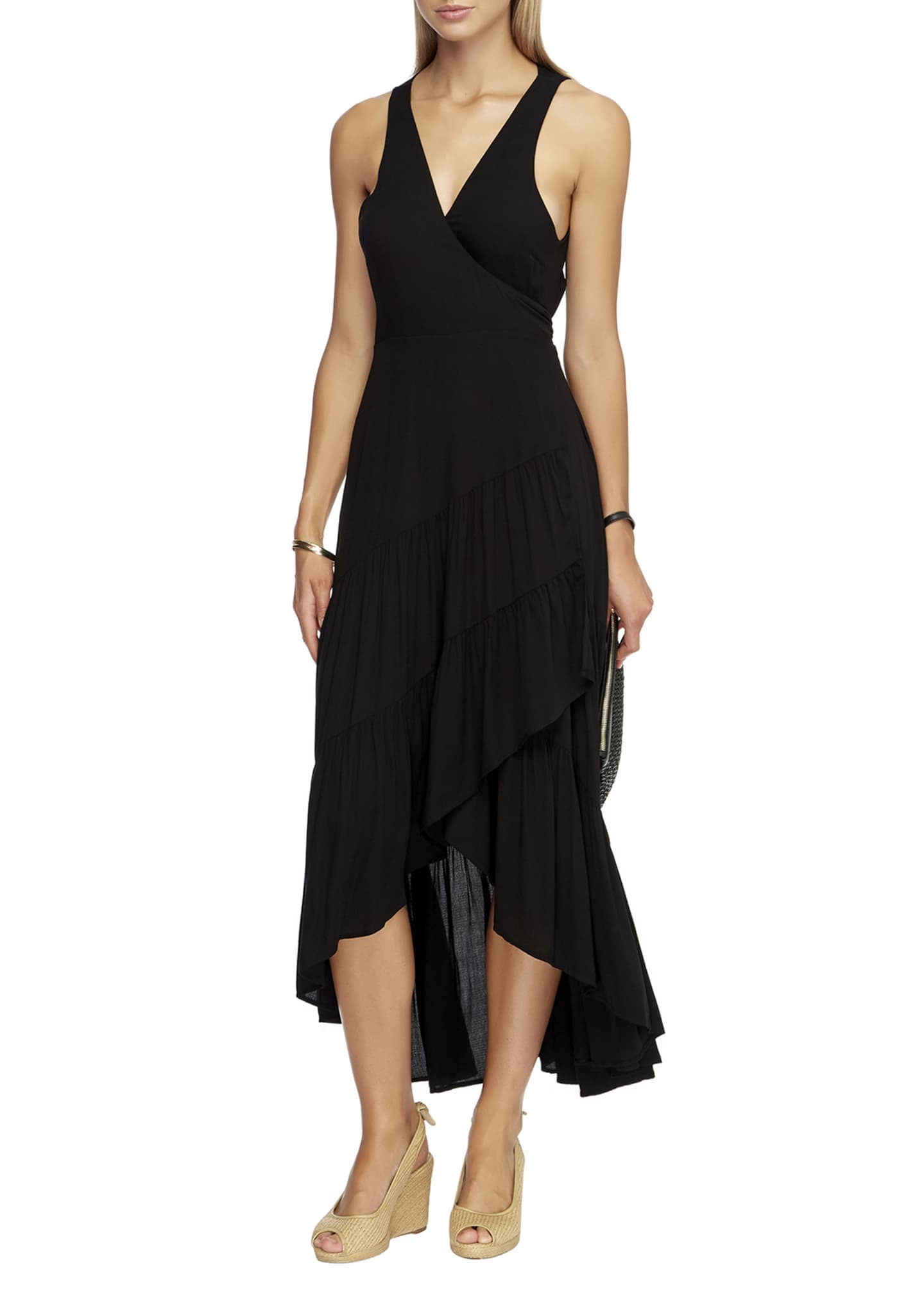 Image 1 of 3: Tiered High-Low Coverup Wrap Dress