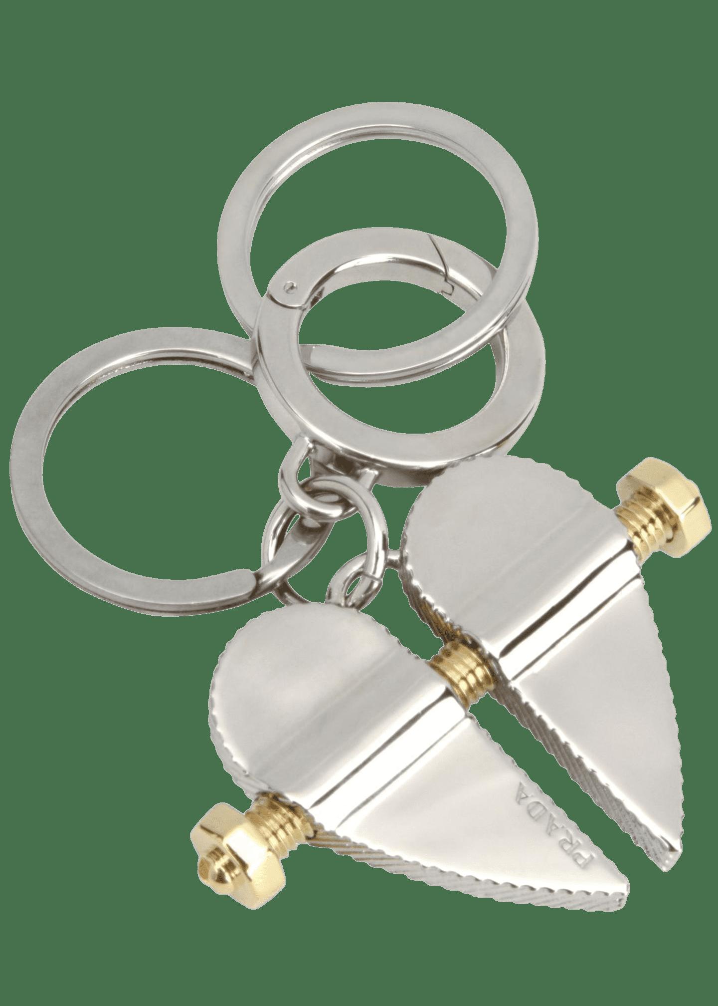 Prada Men's Two-Tone Metal Bolt Heart Keychain