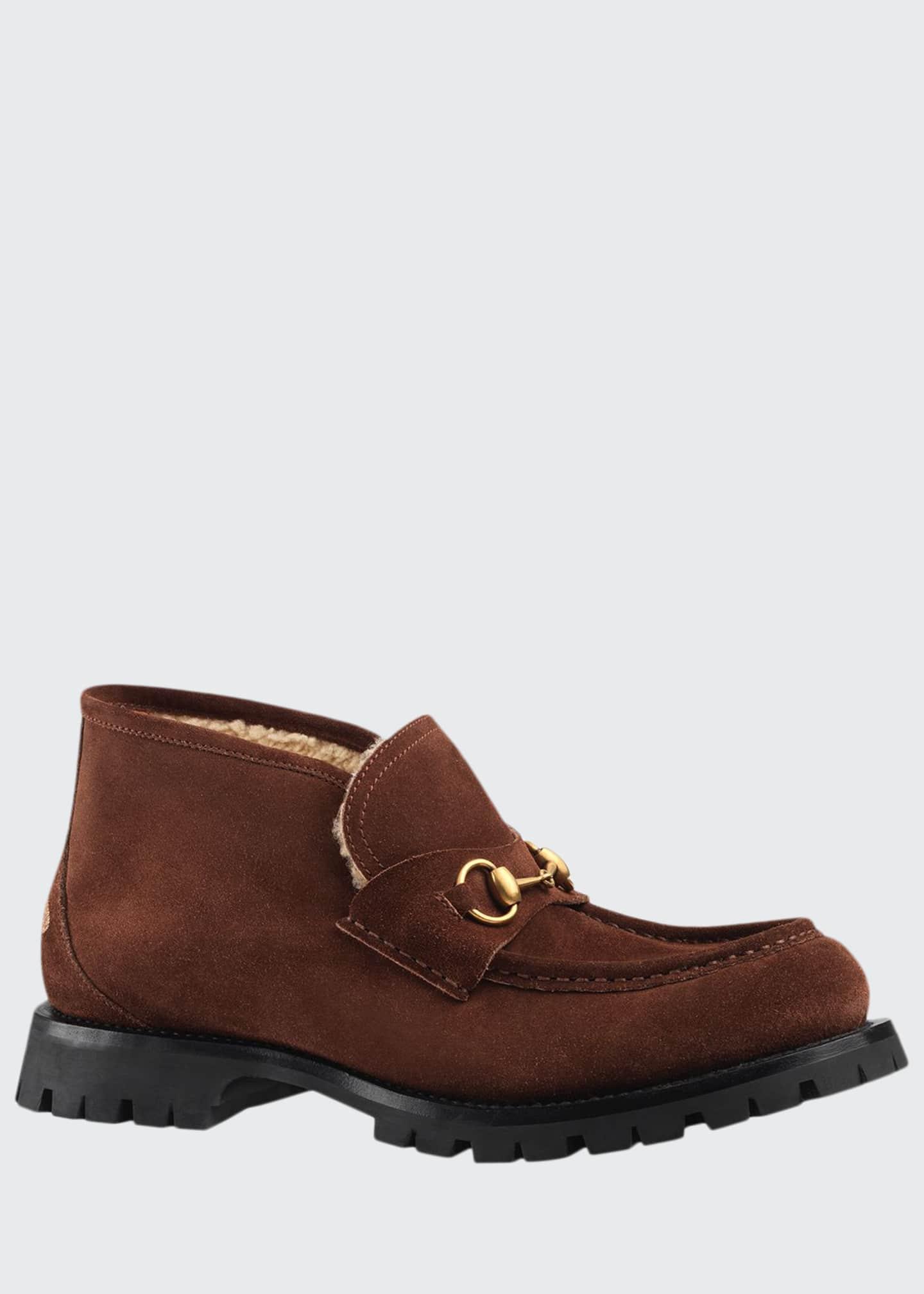 Gucci Men's Django Suede/Wool Horsebit Booties