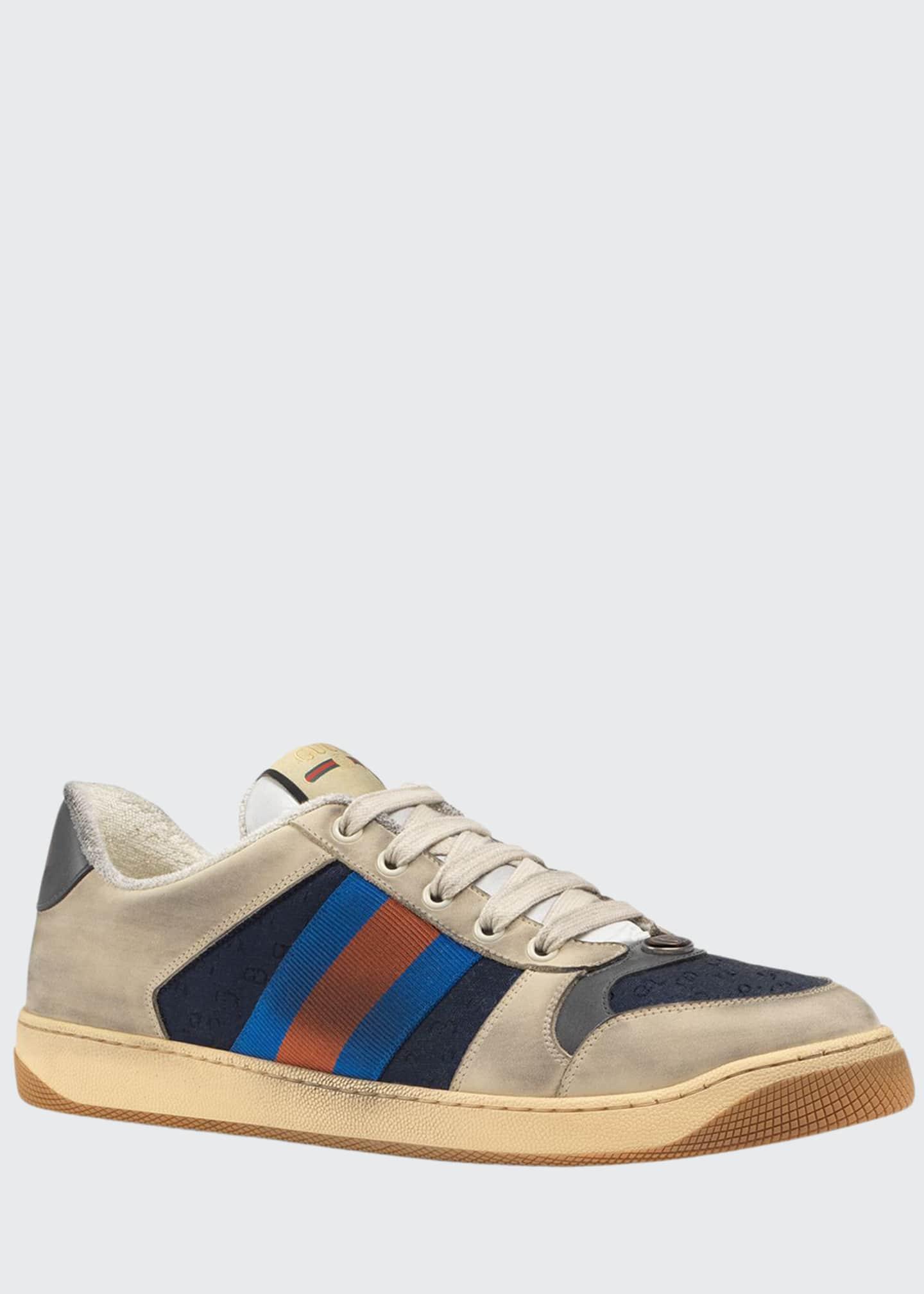 Gucci Men's Screener Distressed Leather Web Sneakers