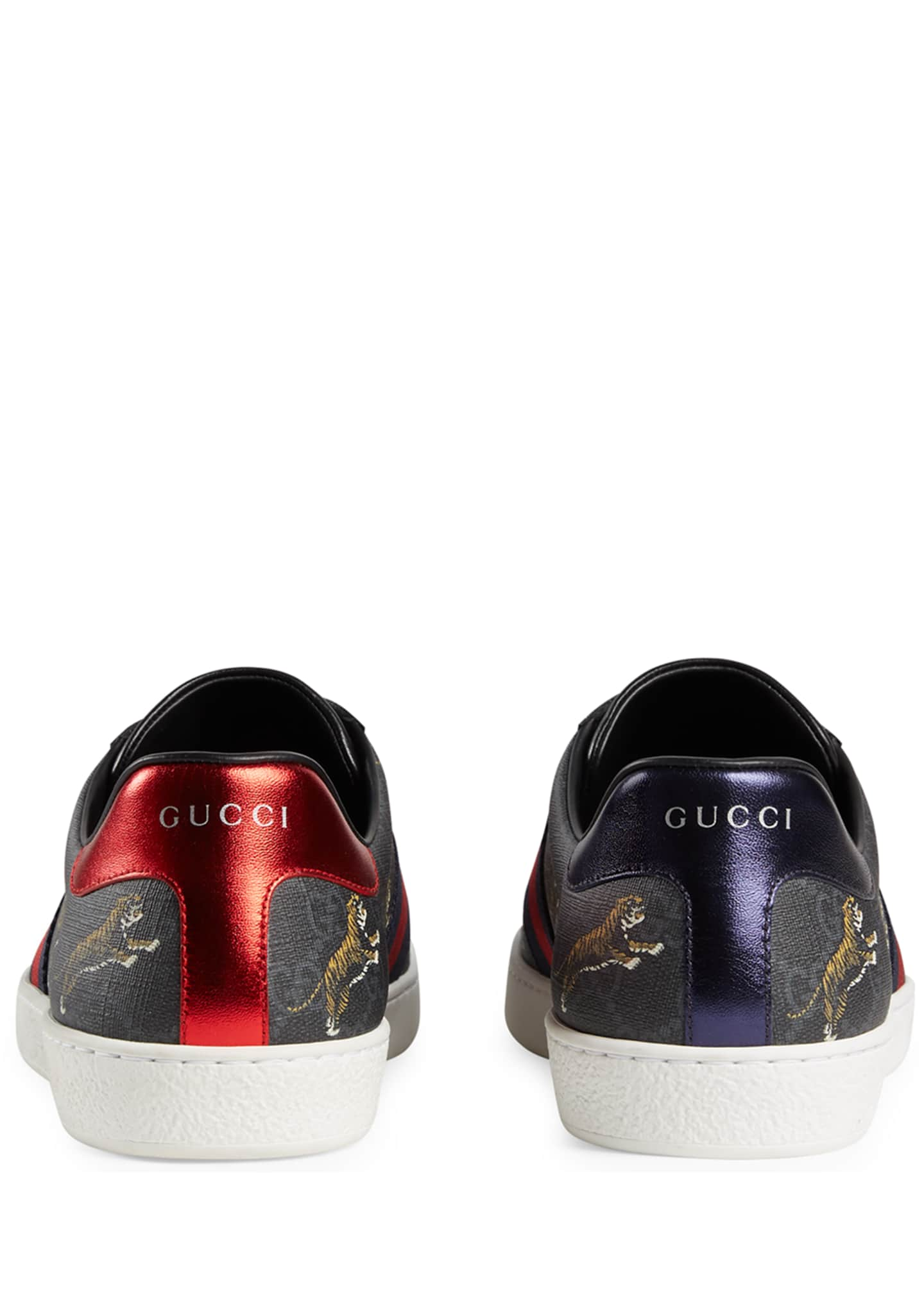 Image 4 of 4: Men's New Ace Low-Top Sneakers With Tigers Print