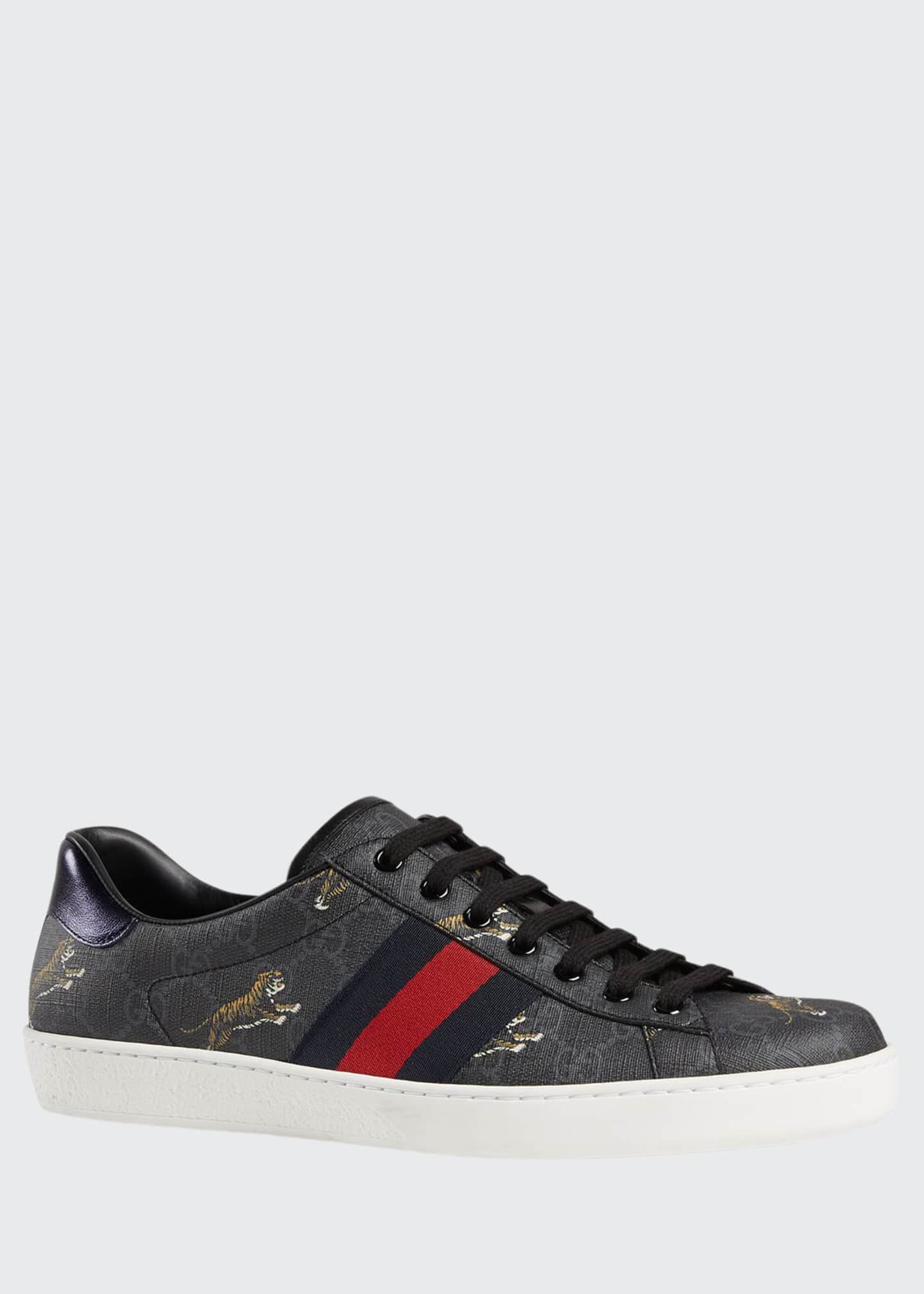 Gucci Men's New Ace Low-Top Sneakers With Tigers