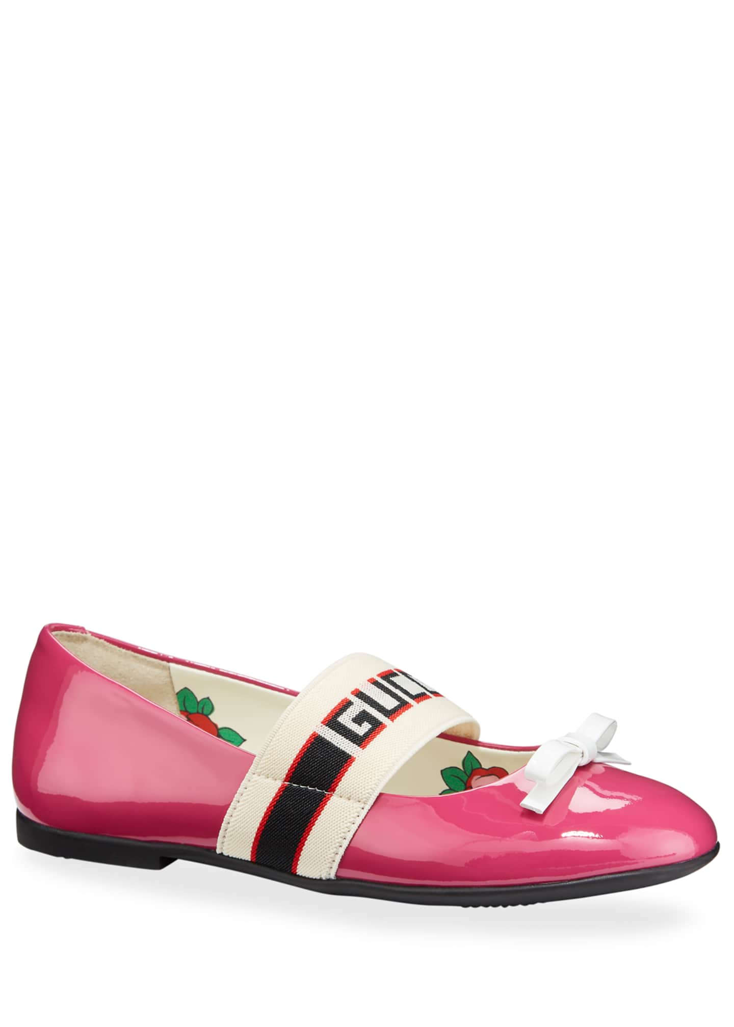 Gucci Patent Leather Gucci Band Ballet Flats, Kids