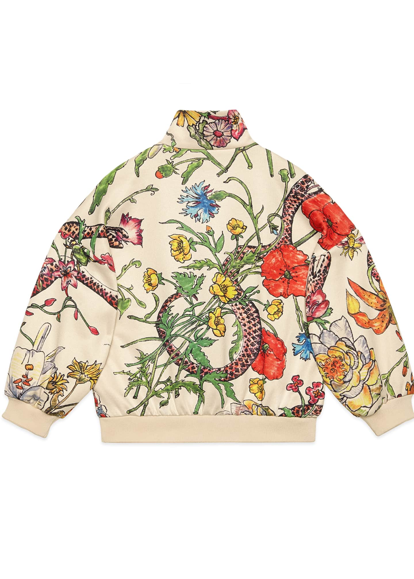 Image 2 of 2: Floral Zip-Up Sweatshirt w/ Stripes & Tiger Patches, Size 4-12