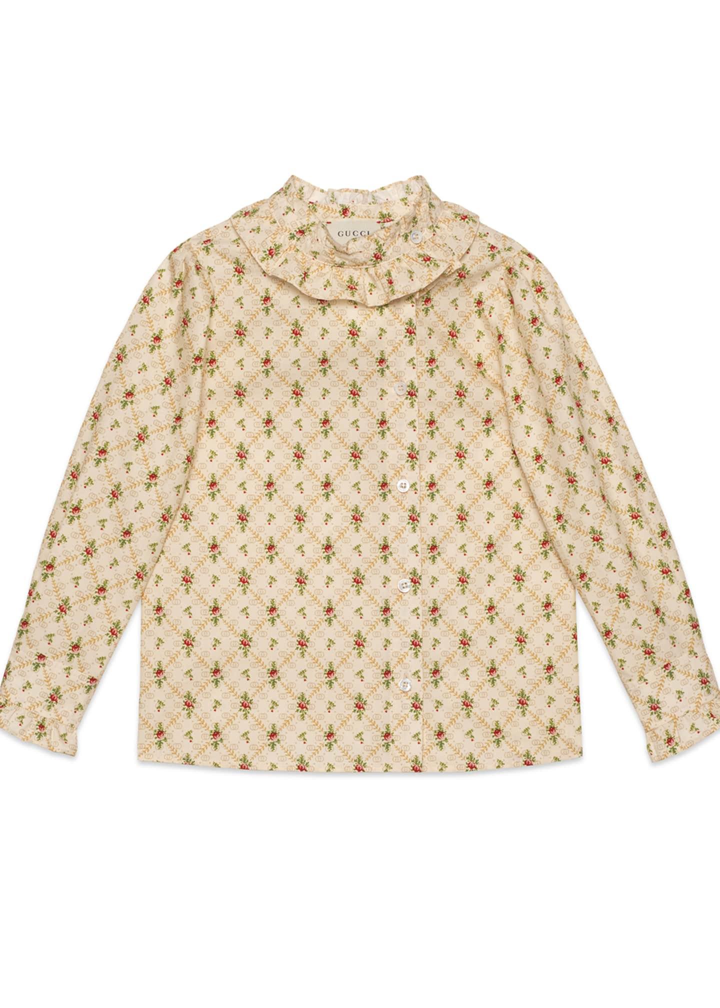 Gucci Girls' Ruffle Collar Blouse, Size 4-12