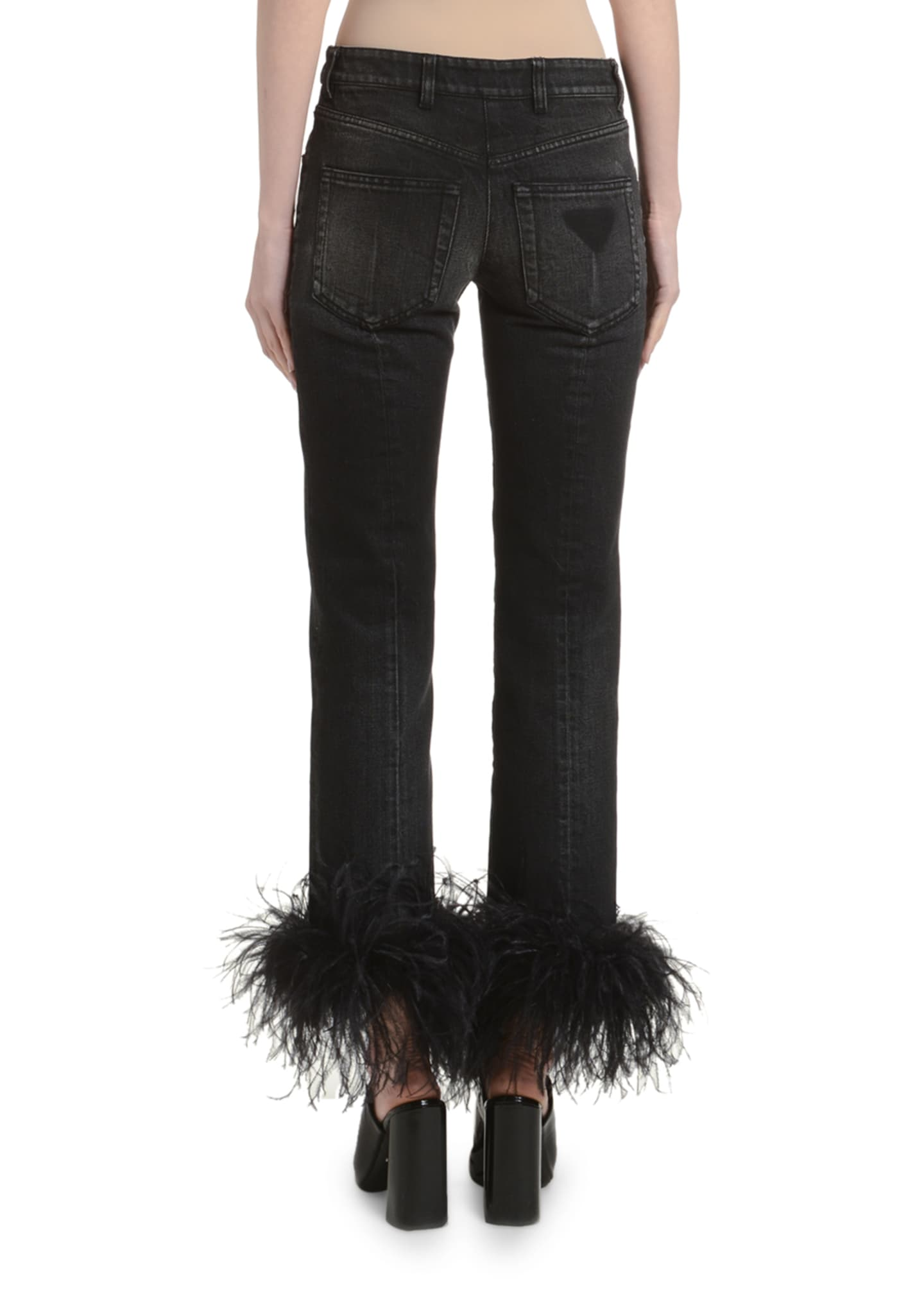 Image 2 of 3: Ostrich Feather-Cuff Straight-Leg Jeans