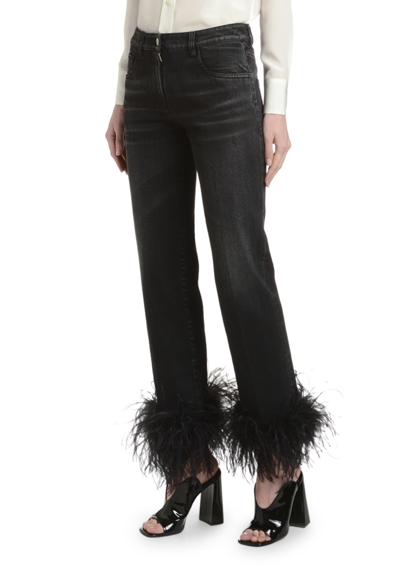 Image 3 of 3: Ostrich Feather-Cuff Straight-Leg Jeans