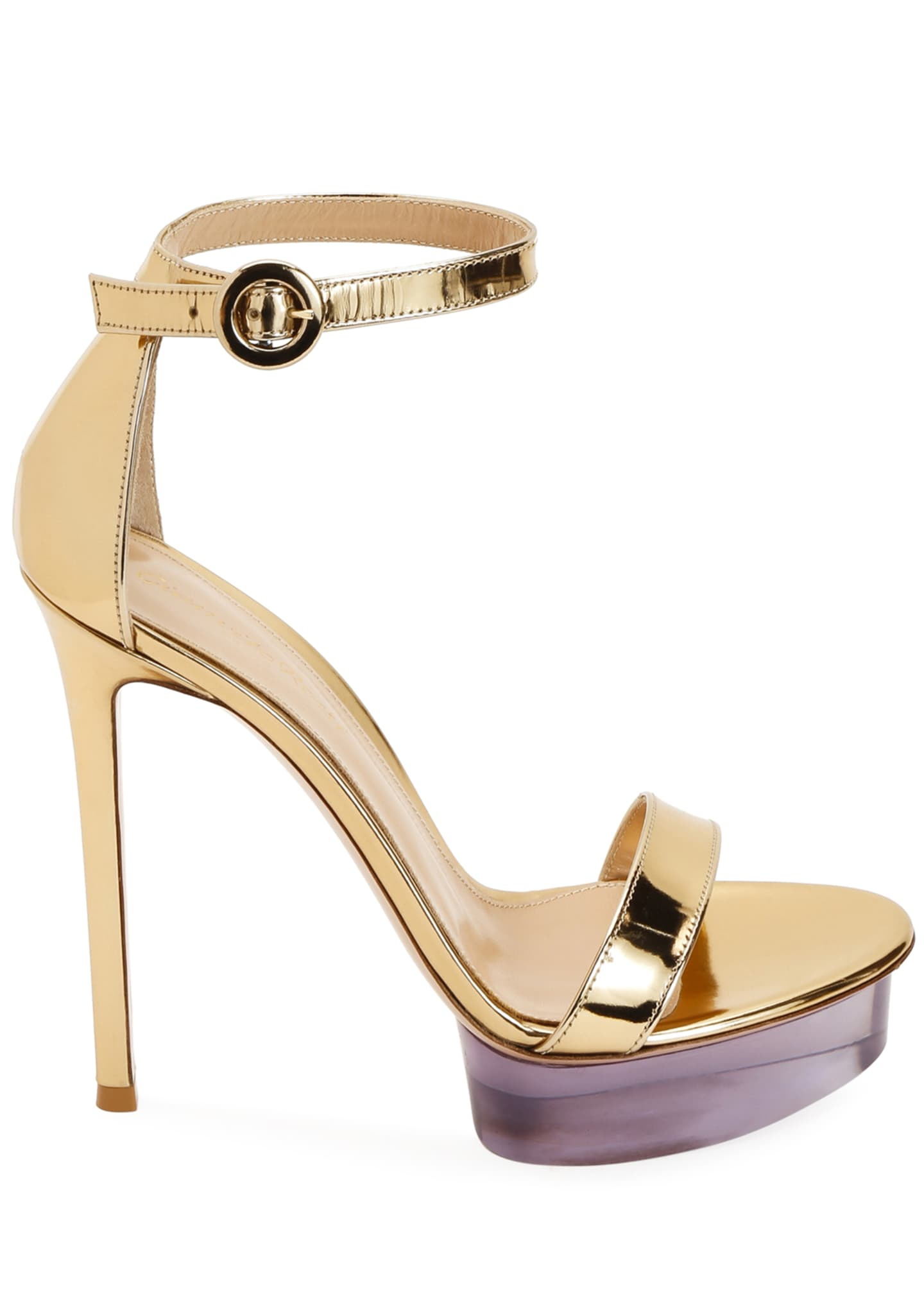 Image 2 of 3: Metallic Metal Rubber Platform Sandals