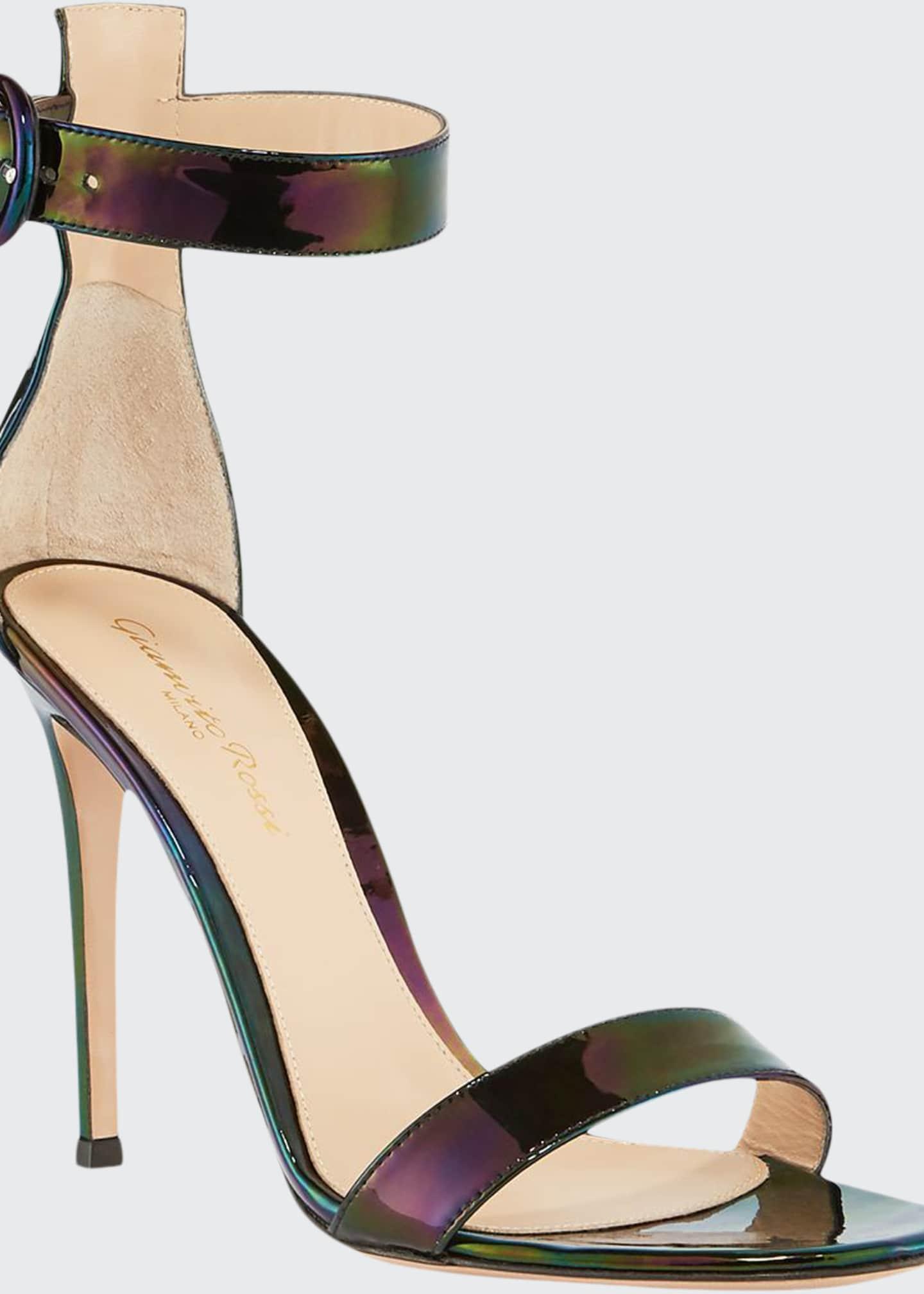 Gianvito Rossi Portofino Oil-Slick Patent 105mm Ankle-Strap
