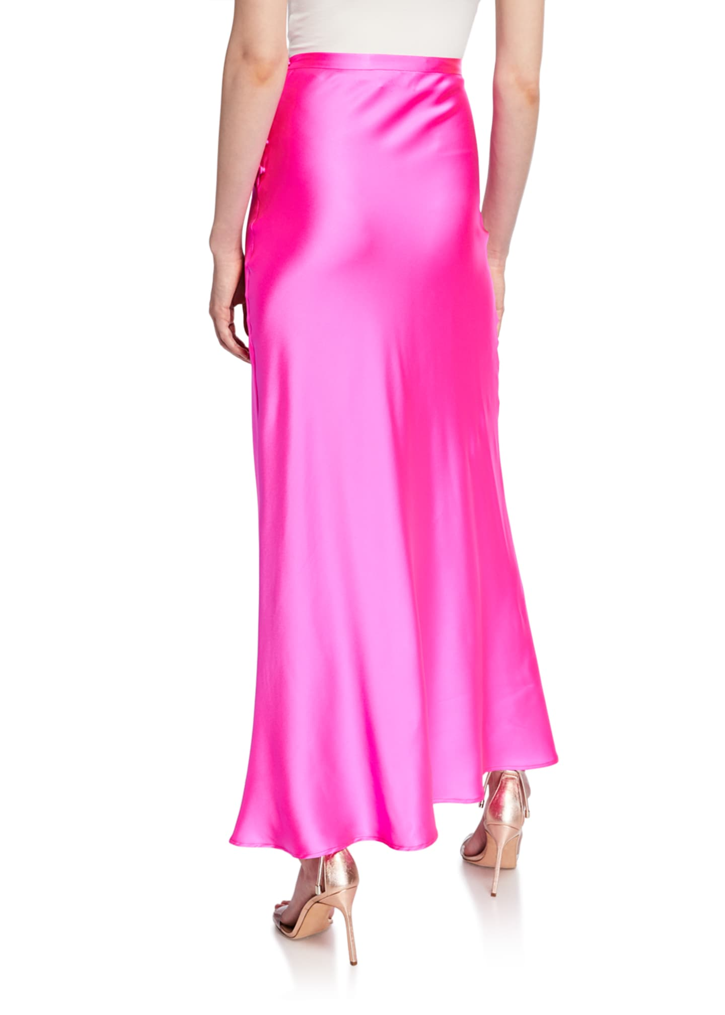 Image 2 of 2: Florence Silk Satin Bias-Cut Ankle-Length Skirt, Pink